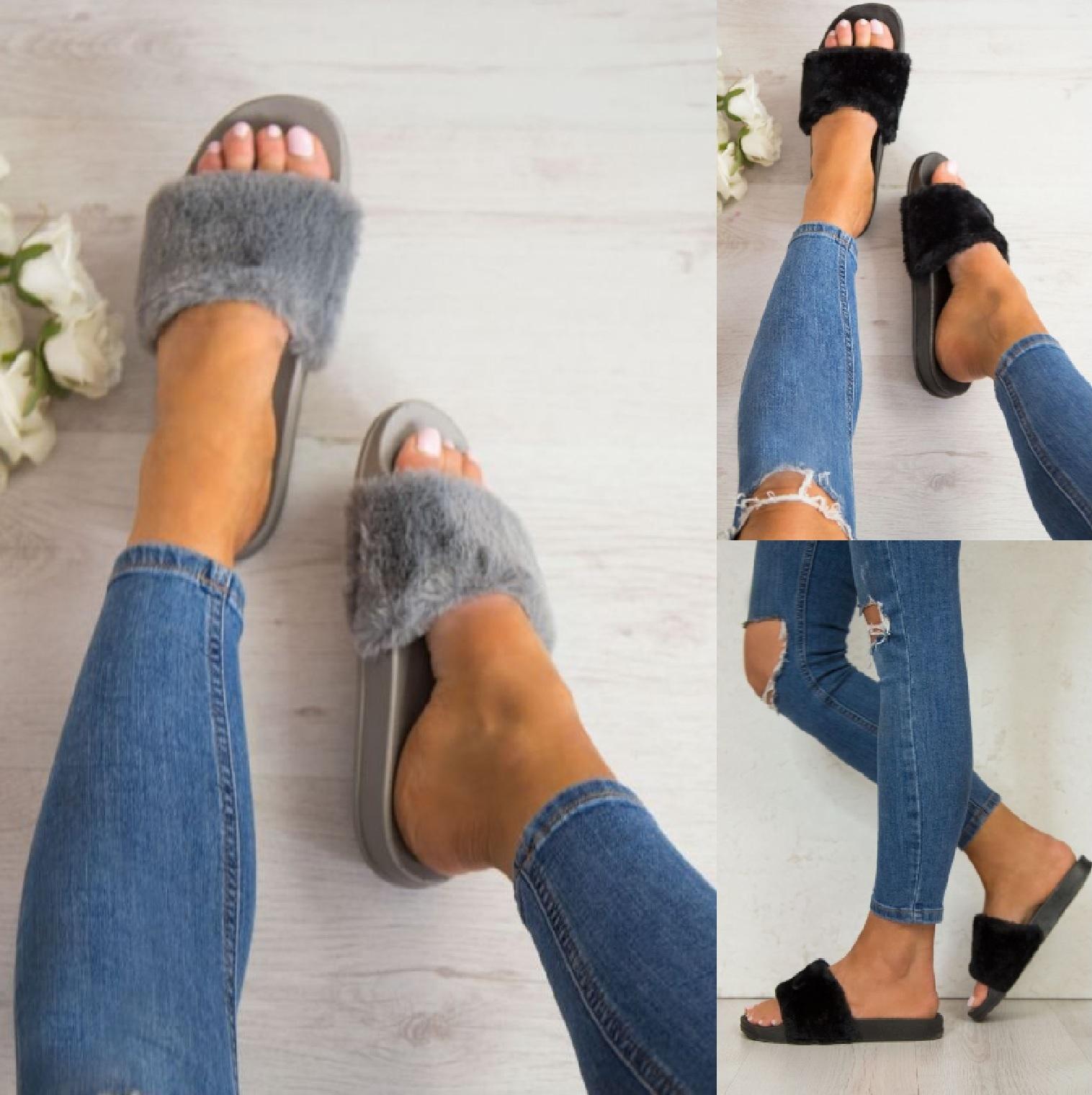 ladies womens flats fur slip on comfy flip flop slider slippers rubber sandals ebay. Black Bedroom Furniture Sets. Home Design Ideas