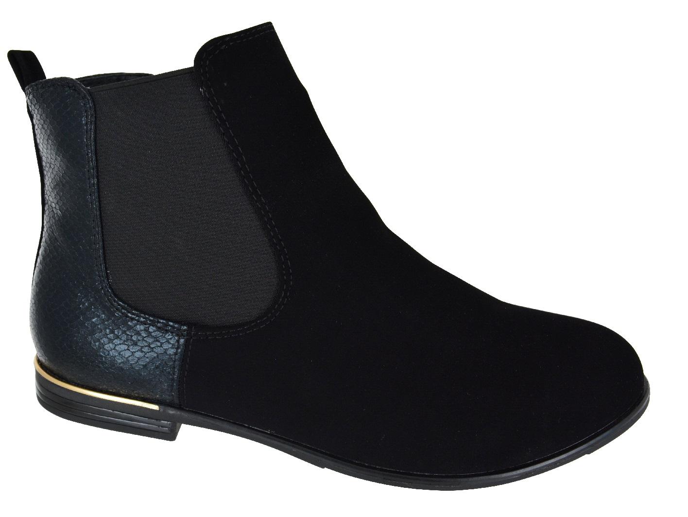 ladies womens flat chelsea large big sizes flat ankle