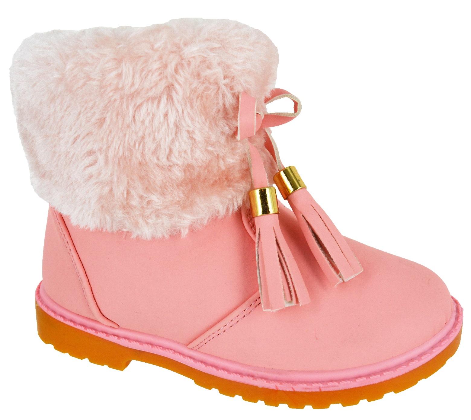 New Kids Girls Fashion Infants Ankle Zip Warm Winter Fur
