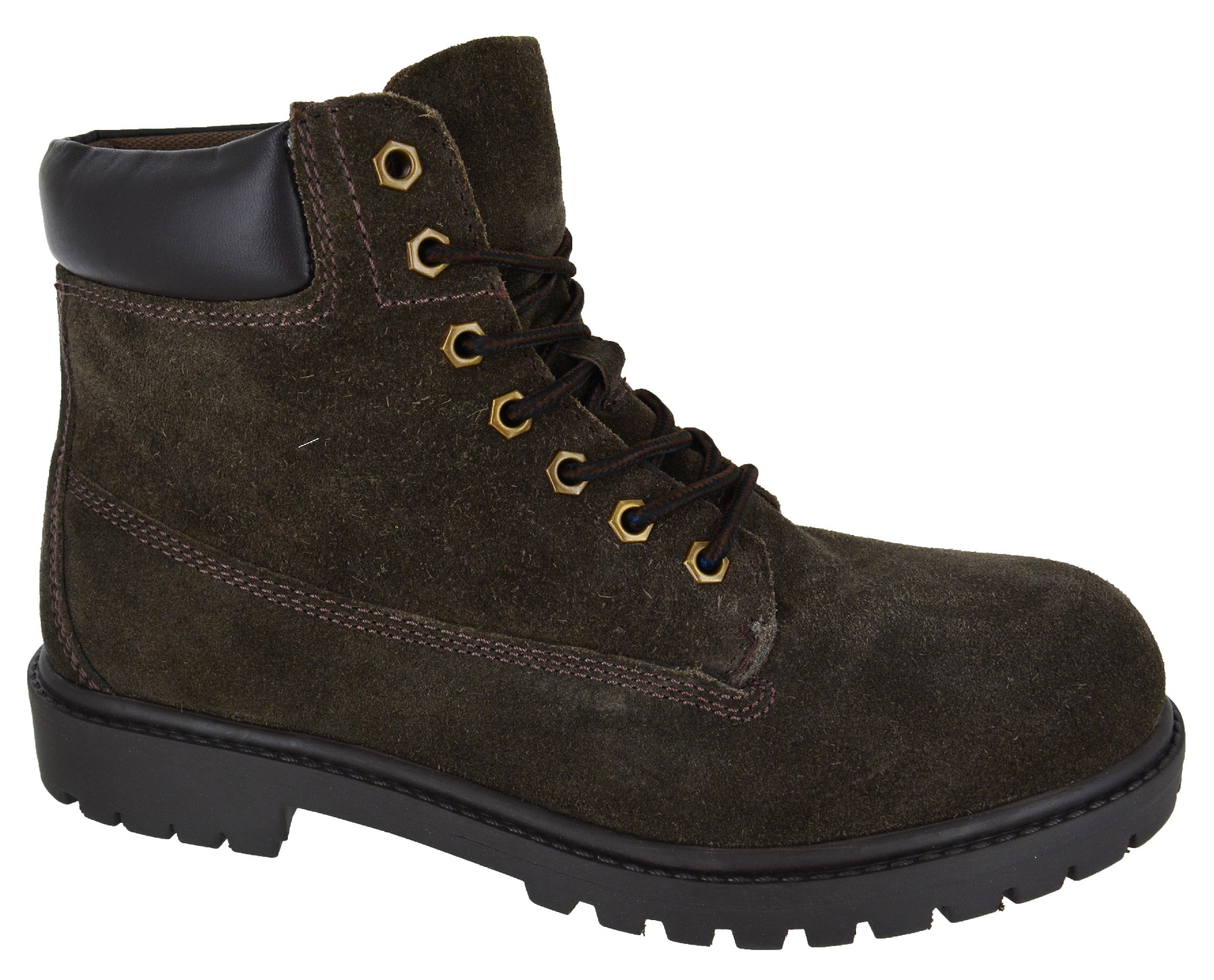 mens new leather hiking ankle lace up grip sole