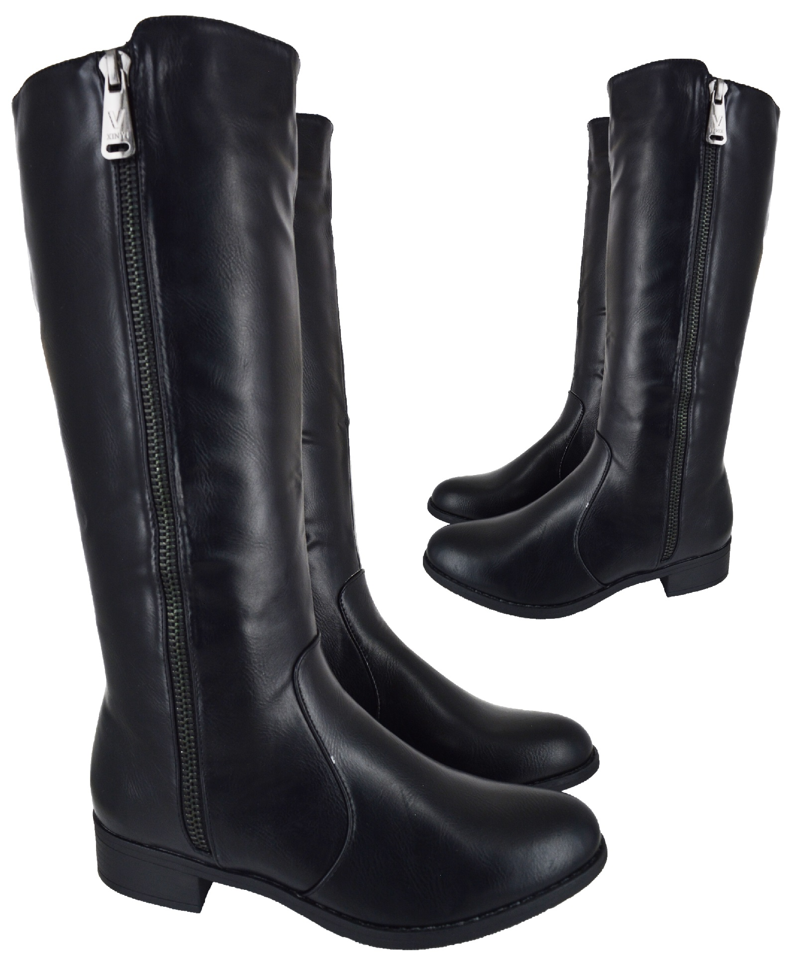 Ladies Womens Large Size Black Knee High Fashion Big Flat Riding Boots New 8 11 Ebay