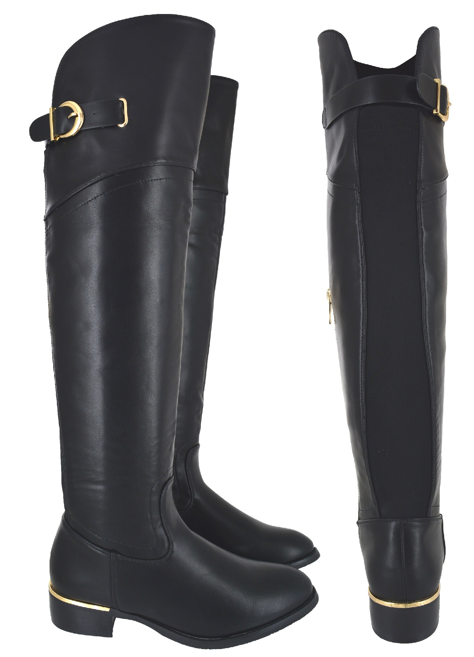 WOMENS LADIES WIDE CALF FIT OVER THE KNEE ELASTICATED FLAT ...