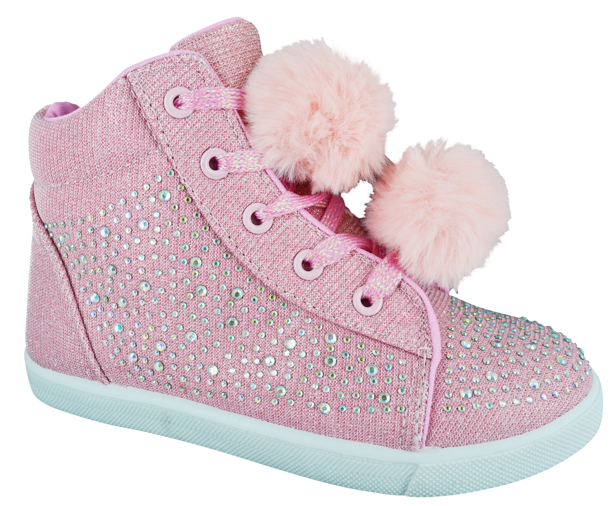 Girls Sparkly Trainers Girls pretty girls sparkle trainers canvas shoes for all trendy princesses. We have the latest fashion of pom poms on some of our trainers and skater shoes.