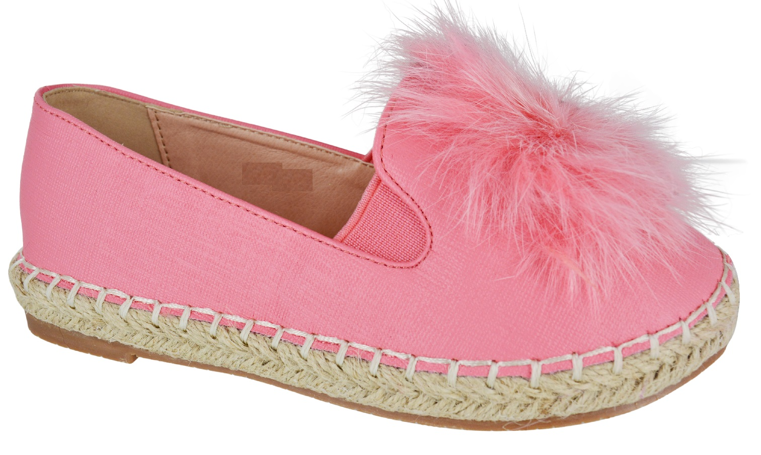 KIDS GIRLS FLAT ESPADRILLES PLATFORM POM POM FUR PUMPS ...
