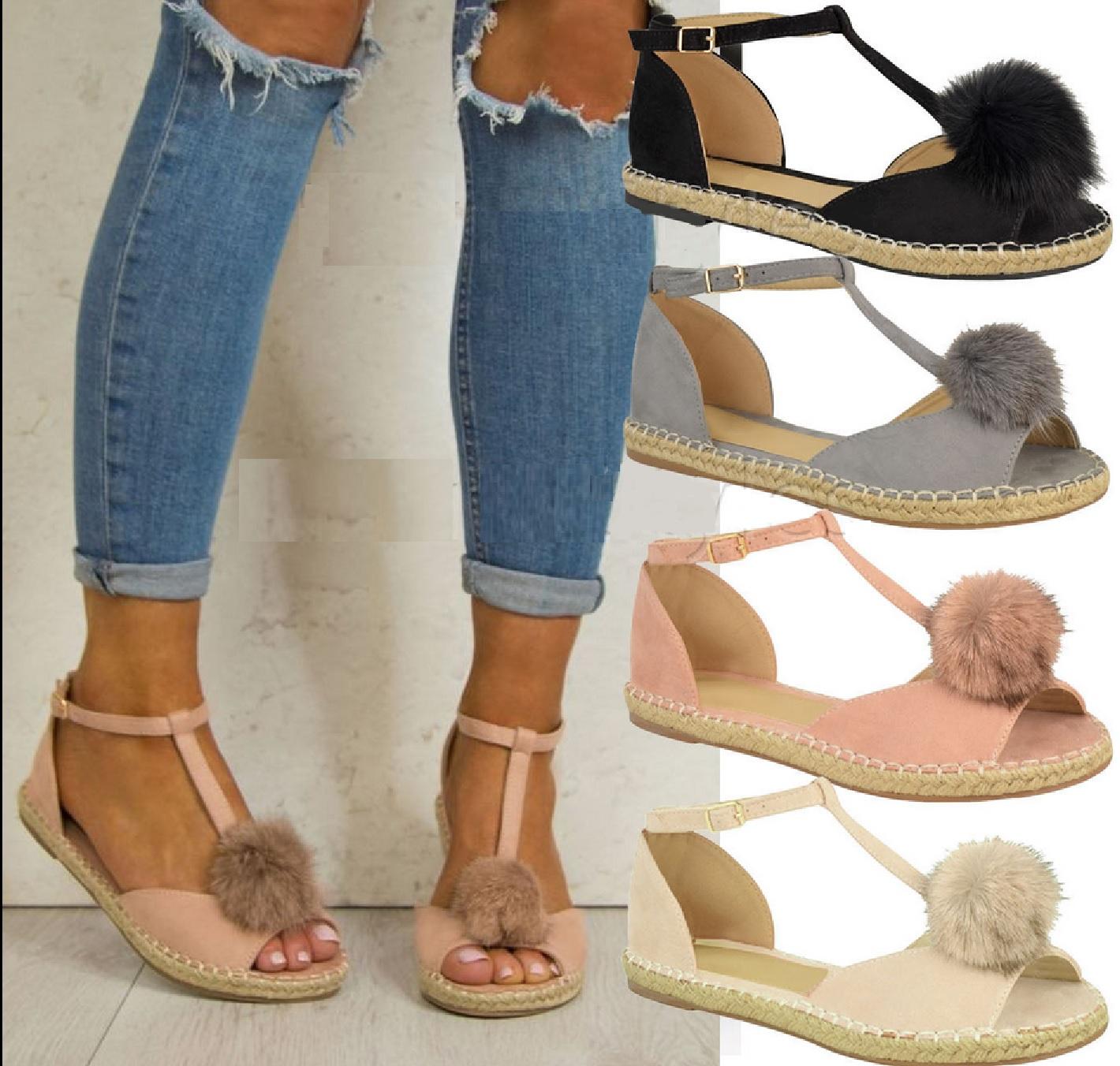 Womens sandals ebay - Womens Ladies Flat Peeptoe Pom Pom T Bar Espadrilles Pumps Sandals Shoes Sz 3