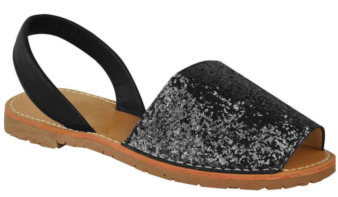 Ladies Womens Menorcan Black Glitter Sling Back Summer