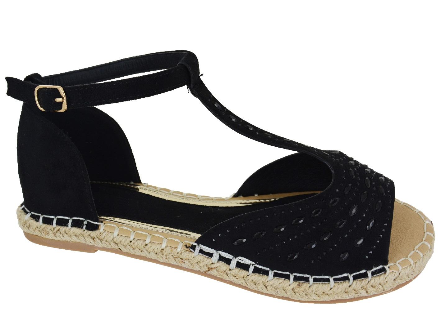 femmes dames plat peeptoe pompon t bar espadrilles chaussures sandales sz 3 8 ebay. Black Bedroom Furniture Sets. Home Design Ideas