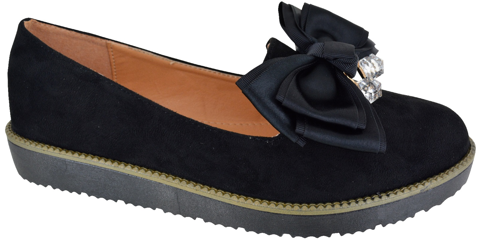LADIES WOMENS NEW FLAT LOW HEEL CHUNK LOAFERS BOW SCHOOL WORK SHOES SIZE 3-8