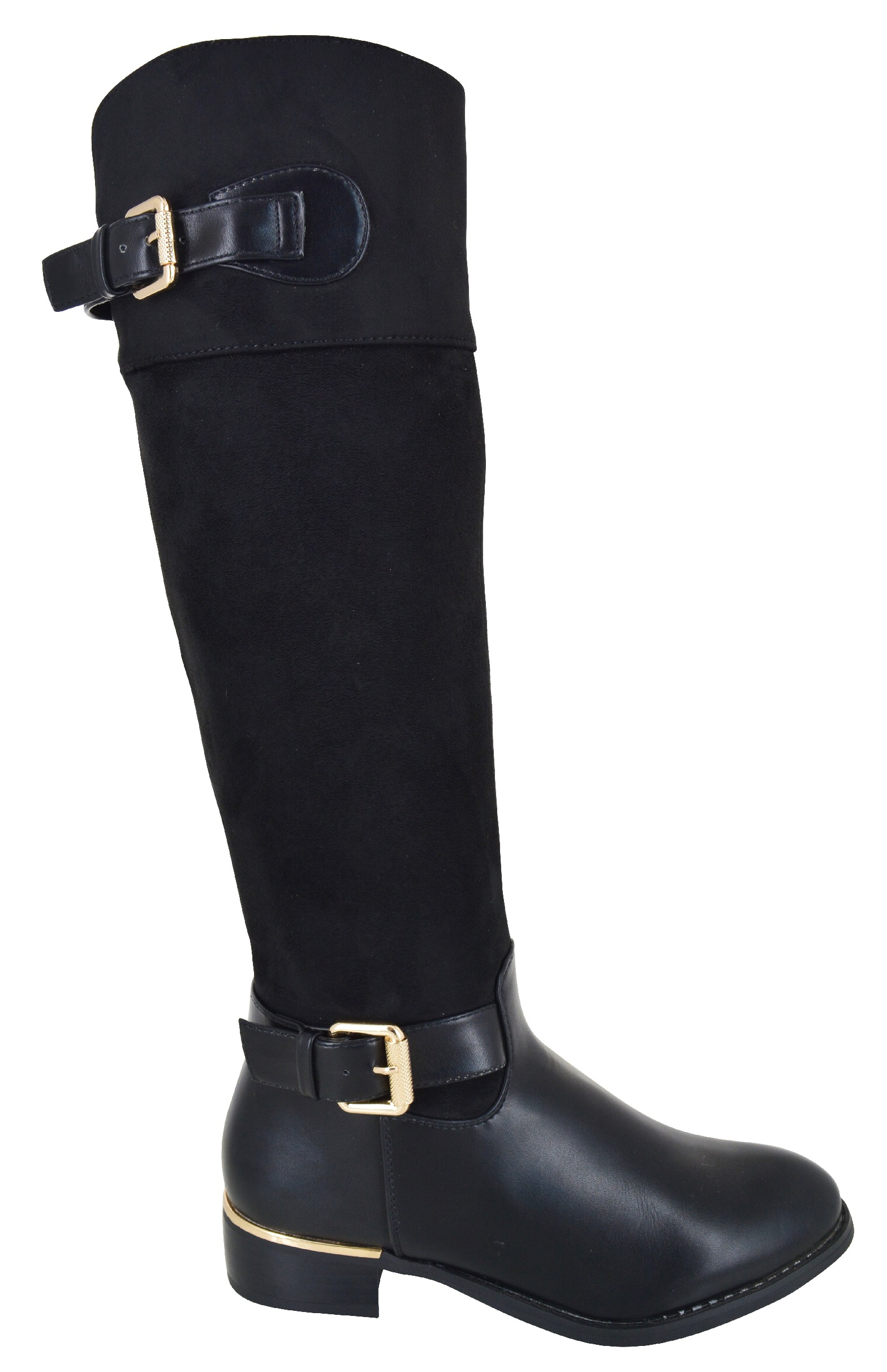 womens knee high flat winter mid calf buckle