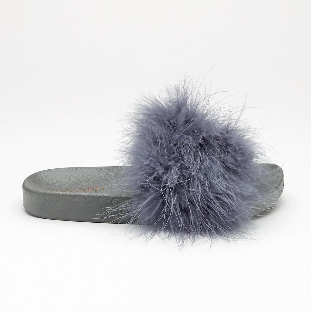 Mesdames pantoufles confortables Sandales Tongs Femme Plat Fourrure Moelleux curseurs Chaussures SZ