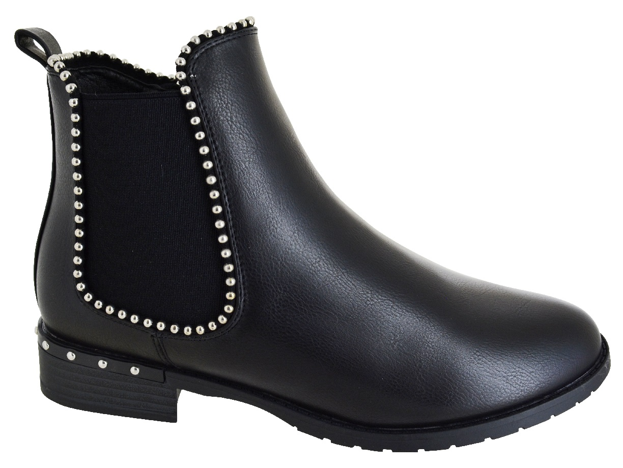WOMENS WINTER WORK CHELSEA BOOTS LADIES STUDDED DEALER LOW ZIP FLAT SHOES SZ 3-8