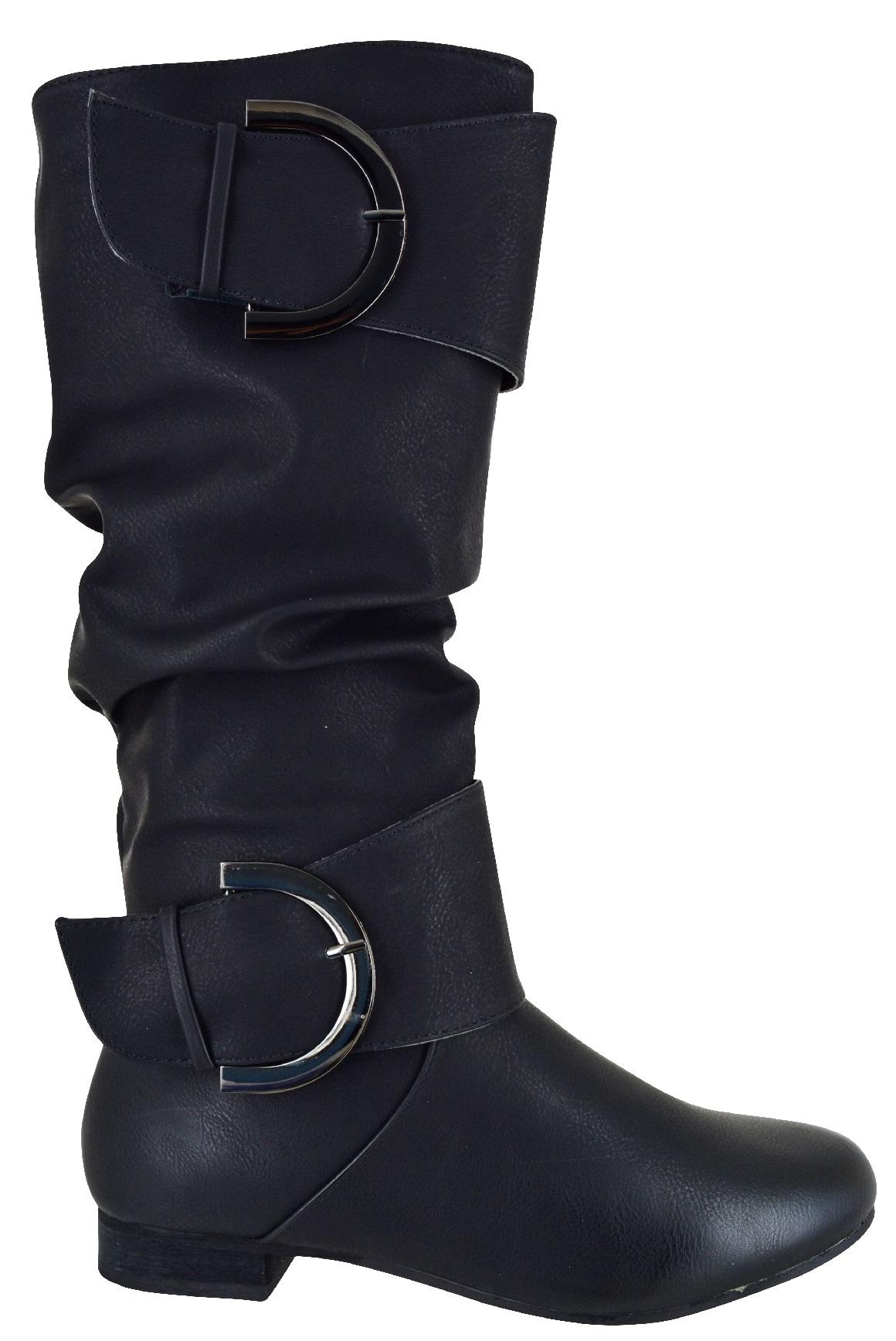 Señoras Plano Caliente De Invierno Botas Hasta la Rodilla Equitación Hebilla para Mujer Comodidad Zapatos Talla