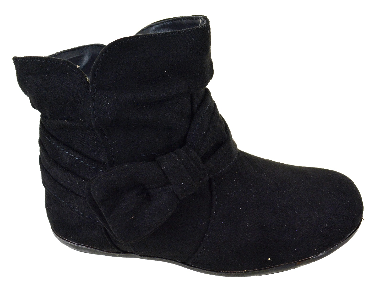 KIDS GIRLS CHILDREN BLACK SLIP ON ANKLE FAUX SUEDE SCHOOL BOOTS SHOES SIZE 5-11
