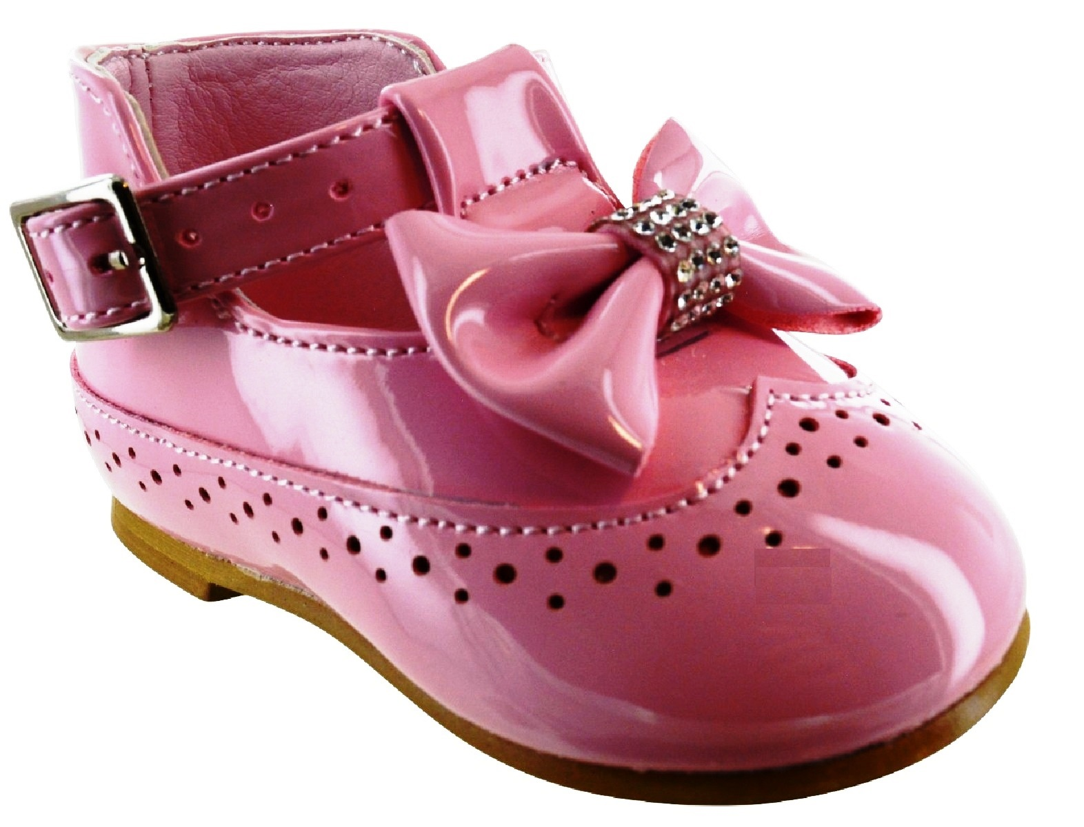 KIDS GIRLS INFANTS BABY DIAMNATE BOW PATENT SPANISH WEDDING PARTY TOODLER SHOES