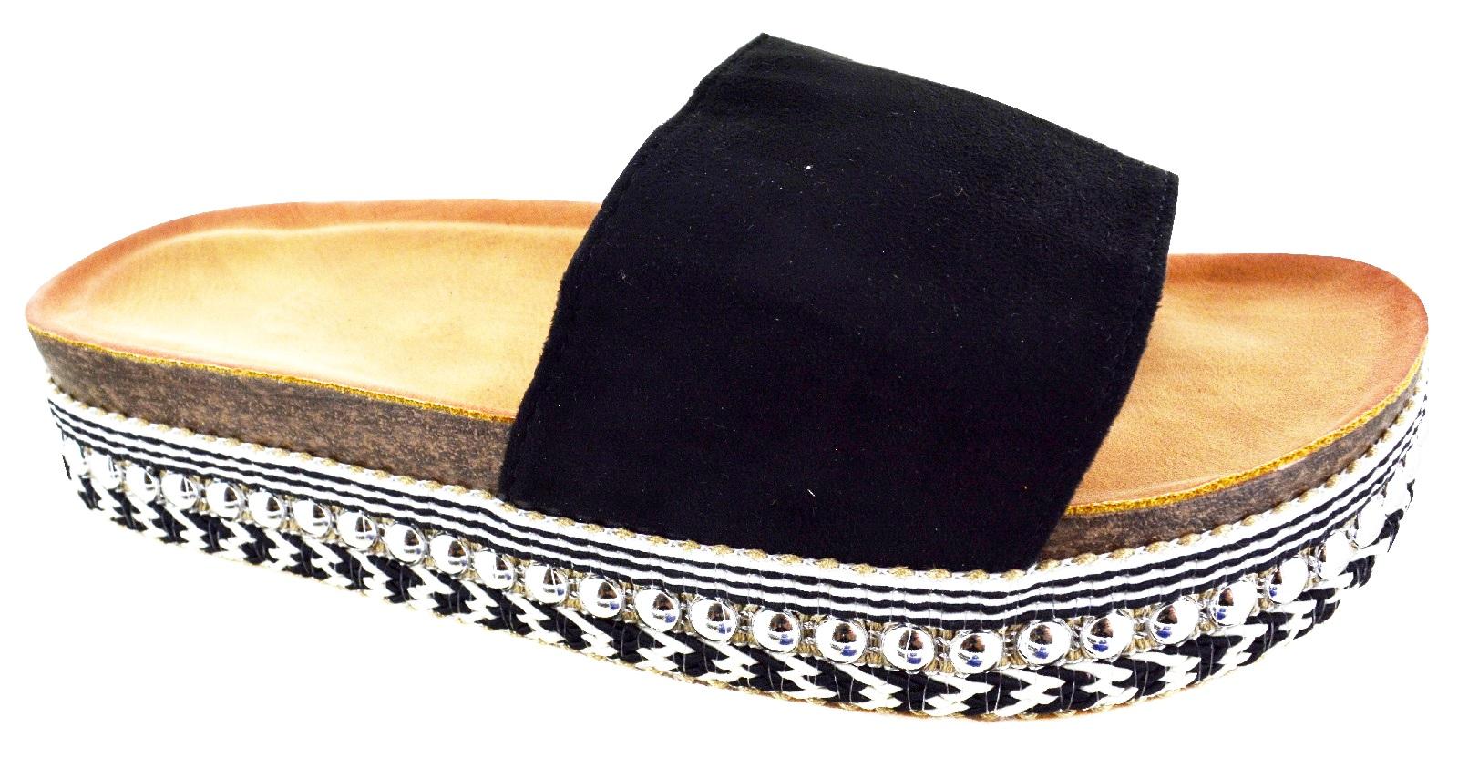 LADIES WOMENS FLATFORM LOW HEEL WEDGE SUMMER PEARLS STUDS SLIP ON SANDALS SHOES