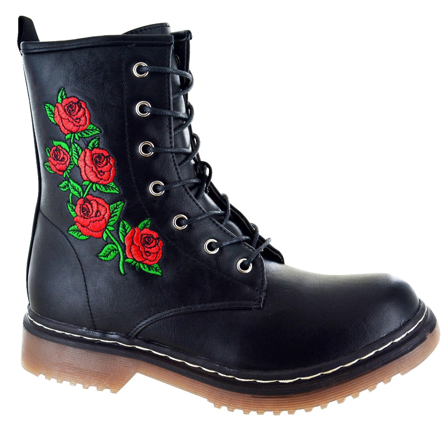 Femme à Lacets Fermeture Éclair Femmes Fleur Rose Punk Goth Retro Combat Boots Sz 3-8