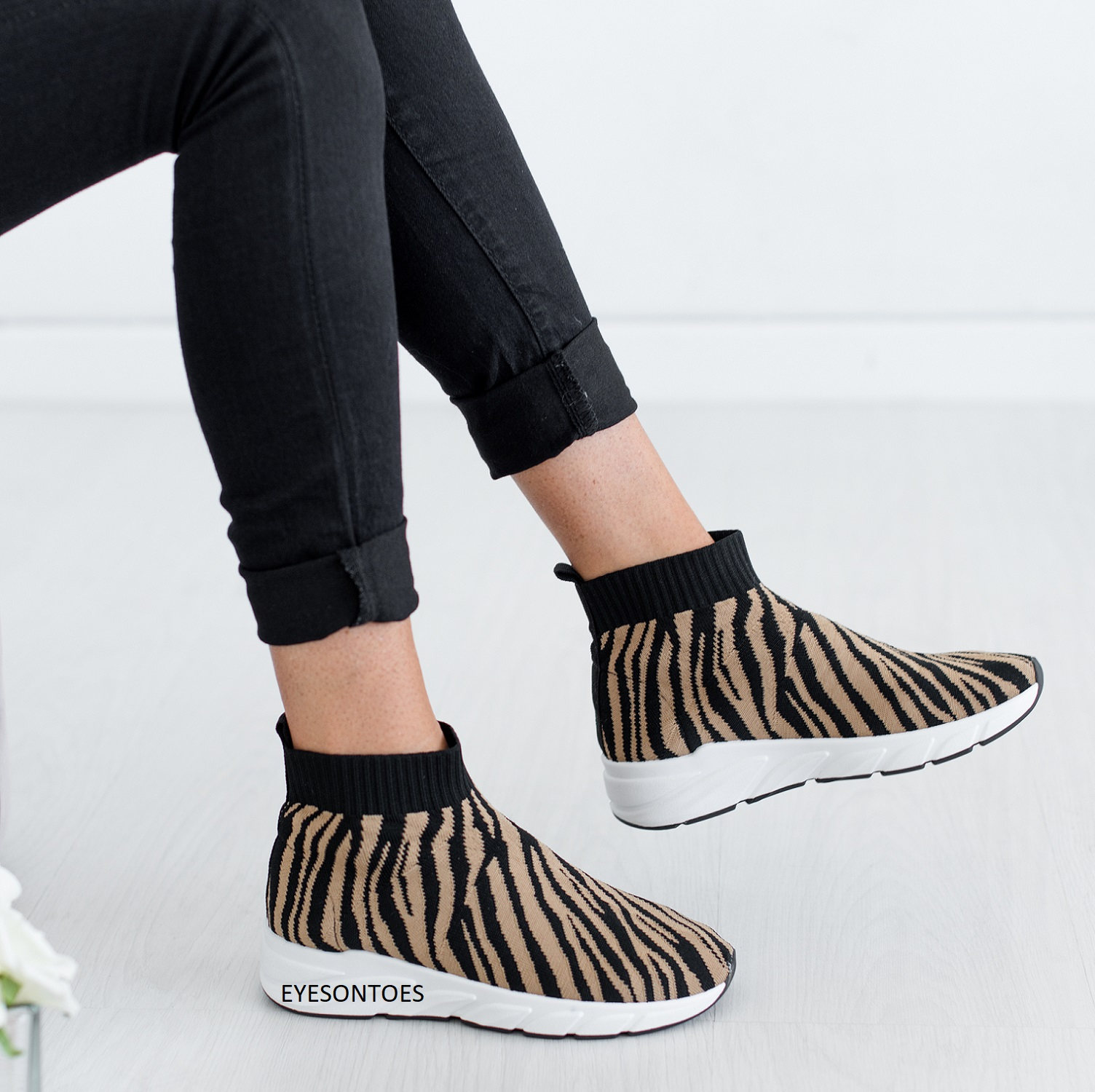 SOCK SLIP ON FLAT ANKLE WOMENS LADIES GYM KNIT RUNNING SNEAKERS TRAINERS SHOES S
