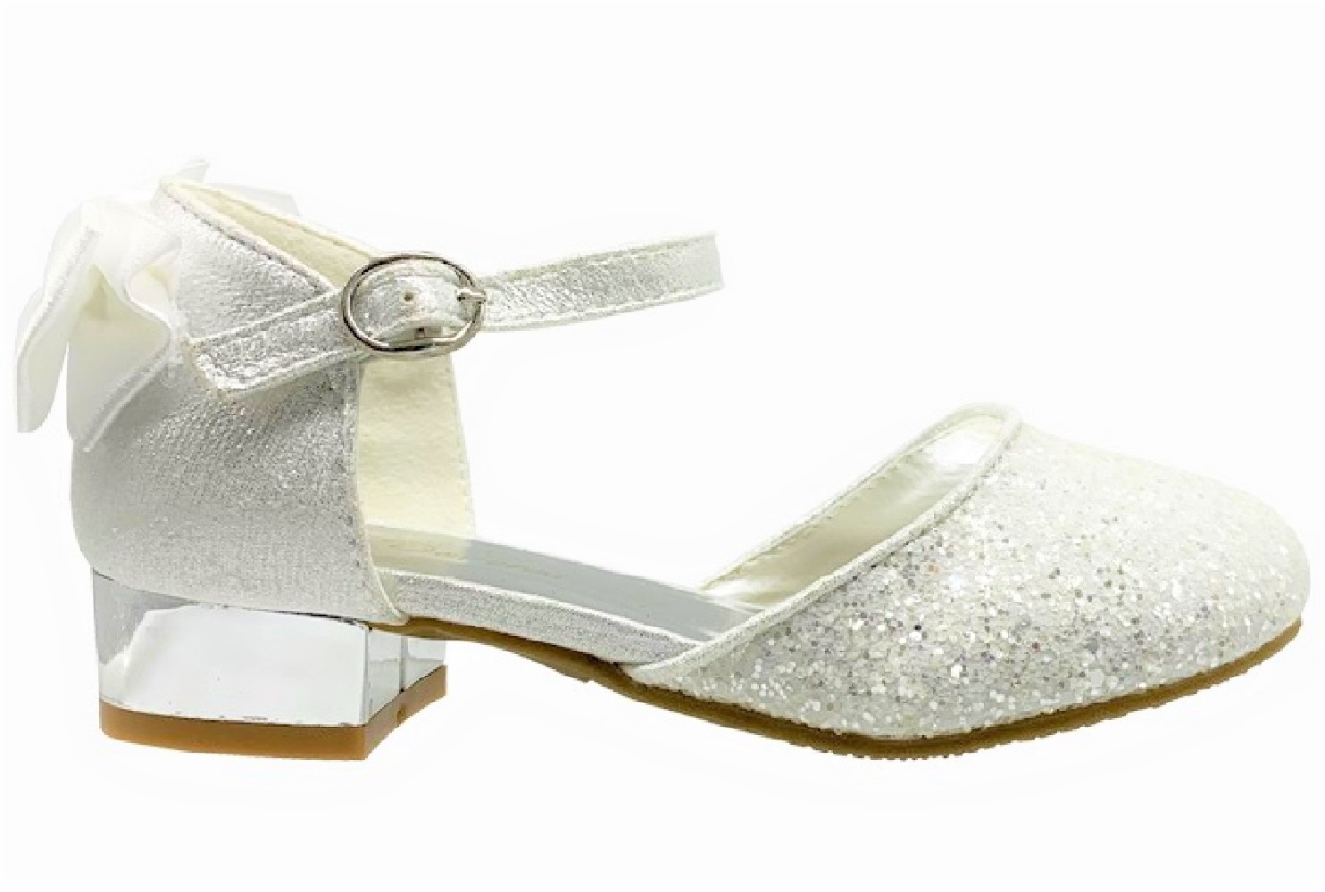 CHILDRENS KIDS BABY GIRLS LOW HEEL GLITTER BOW SHINY PARTY SHOES SANDALS SIZES