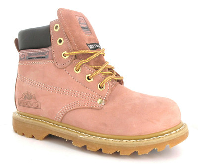 LADIES WORK PINK LEATHER SAFETY STEEL TOE CAP TRAINER HIKING BOOTS ...