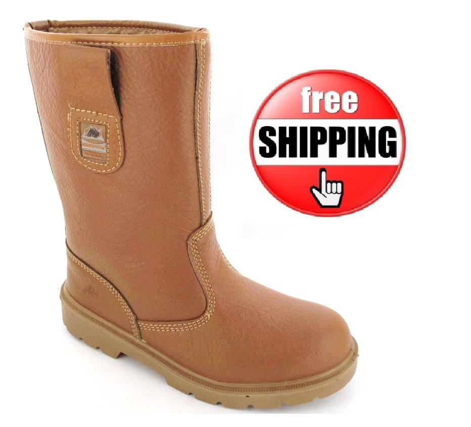 Mens Ladies Work Tan Midsole Fur Lined Safety Rigger Boots Steel ...
