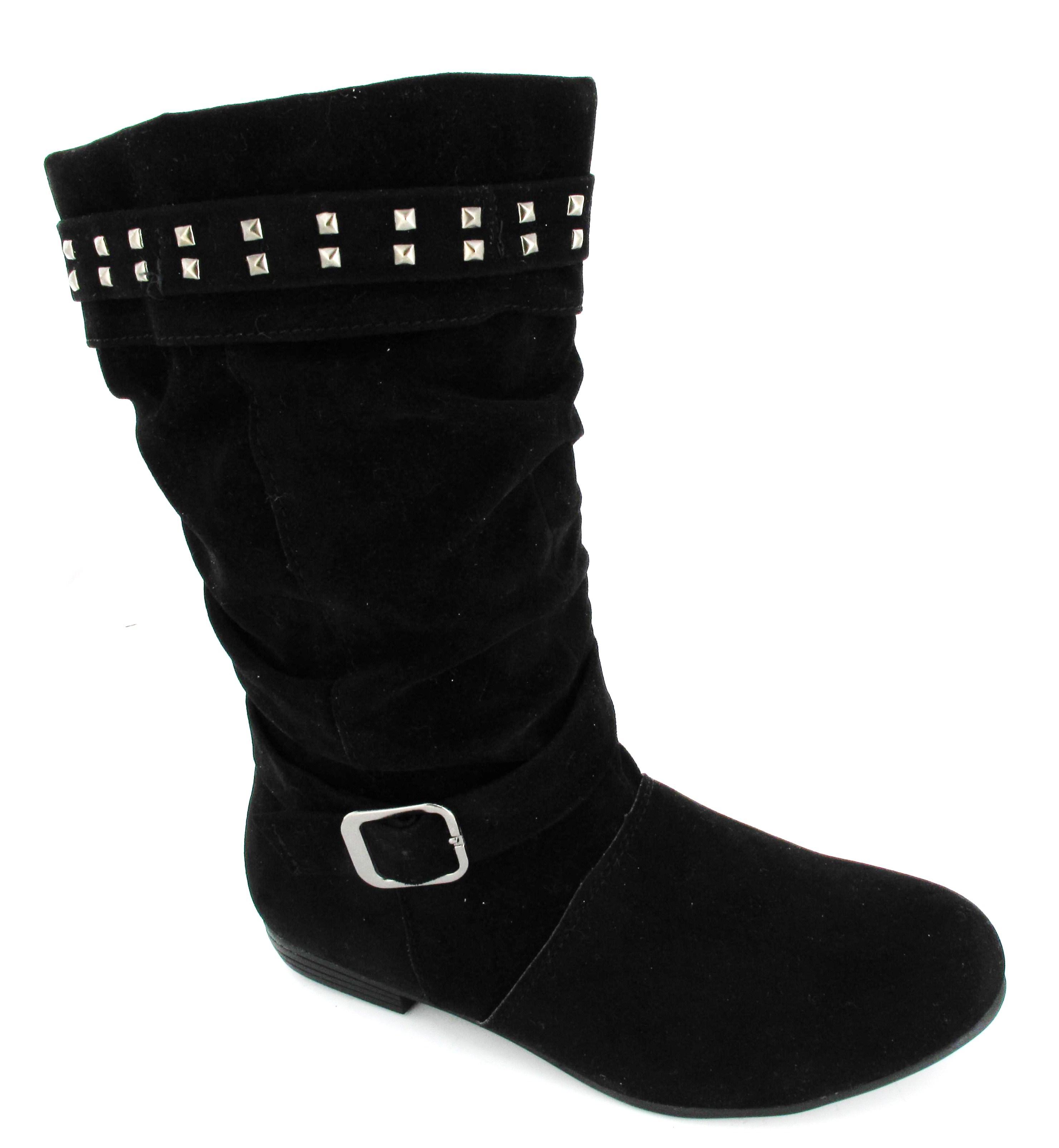 inside zip flat slouch school boots faux suede