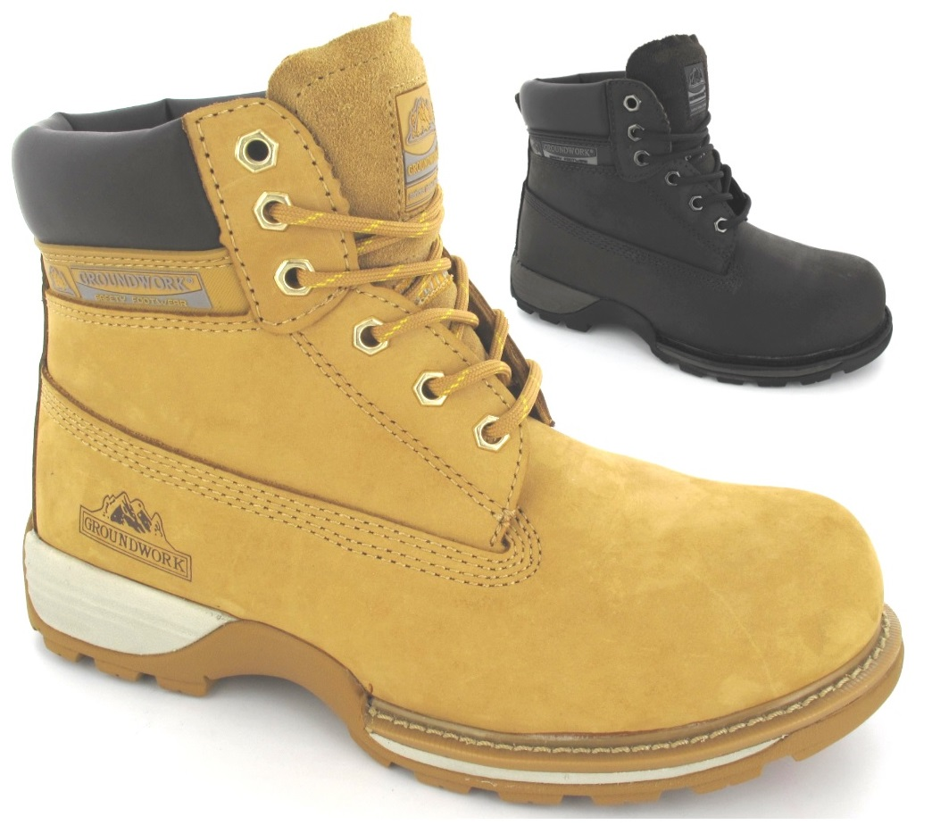 safety ankle boots mens lightweight leather steel toe cap