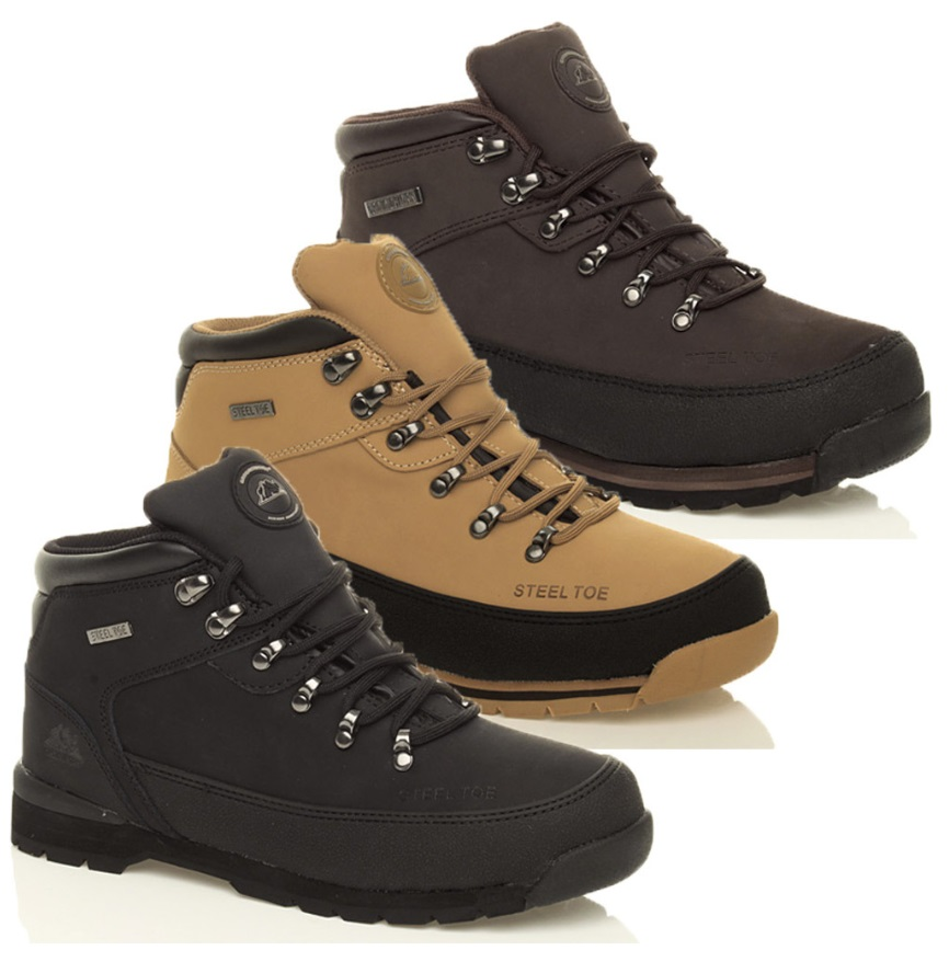 mens work safety steel toe cap boots leather hiking shoes