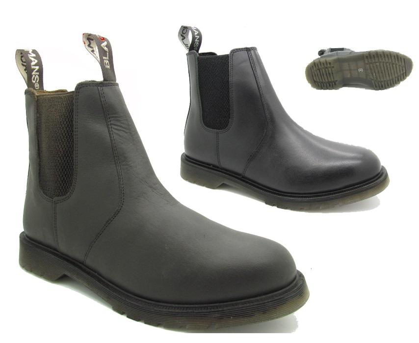 mens dealer dm boots chelsea black brown leather slip on