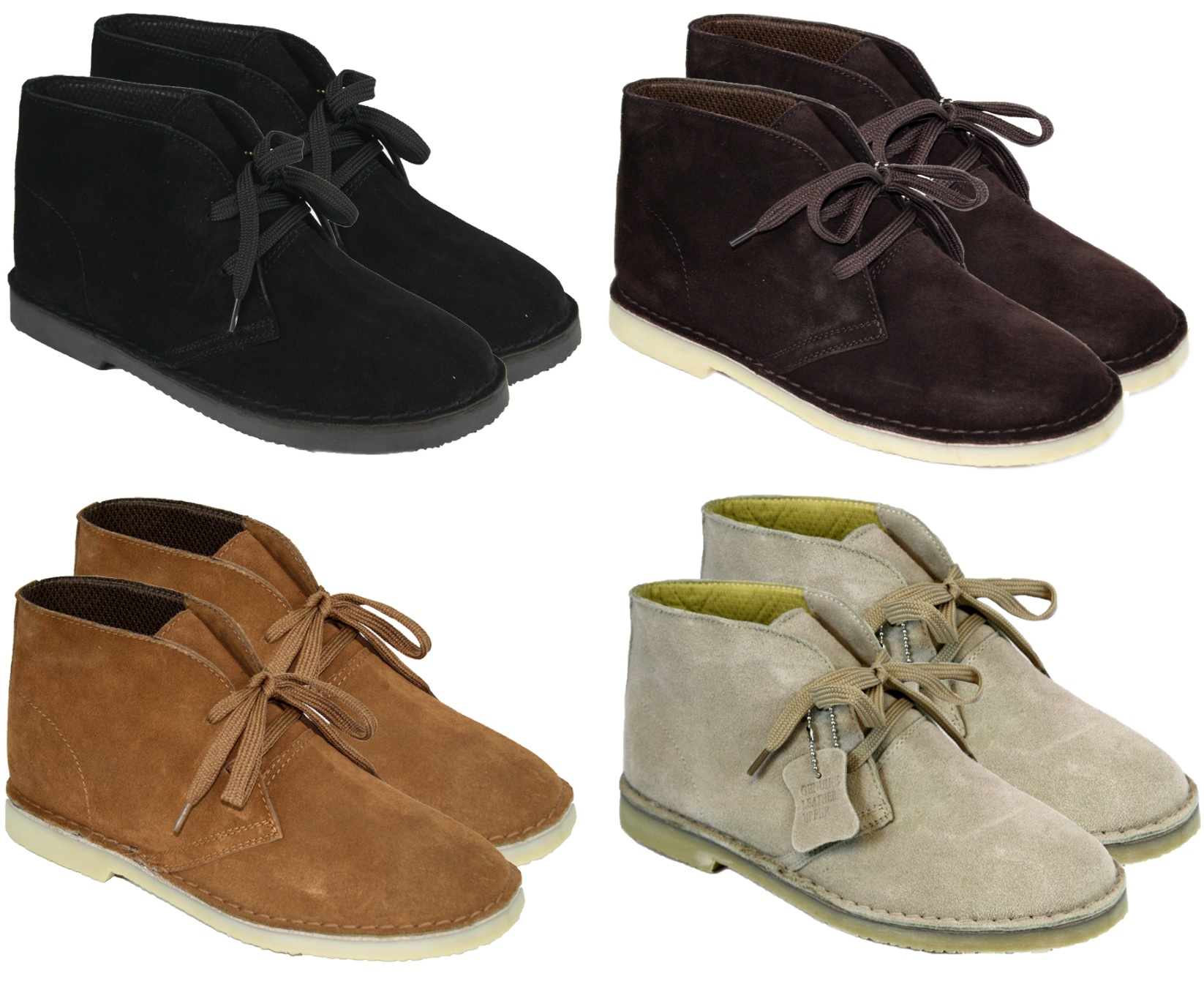 mens hi top desert boots suede leather lace up ankle