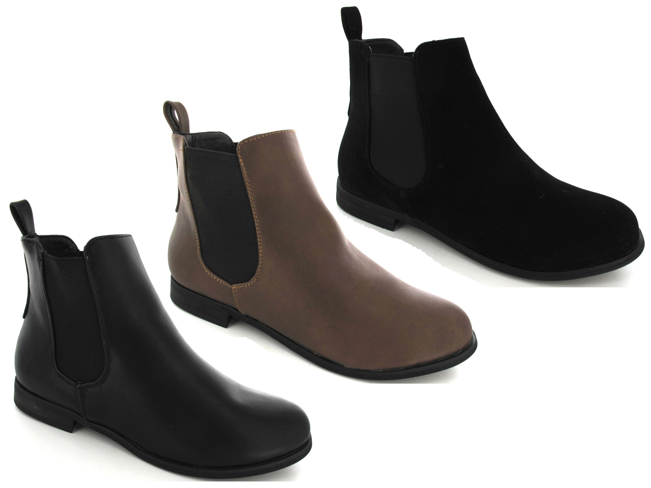 women ladies s pull on gusset chelsea elasticated flat ankle boots size 3 8 ebay. Black Bedroom Furniture Sets. Home Design Ideas