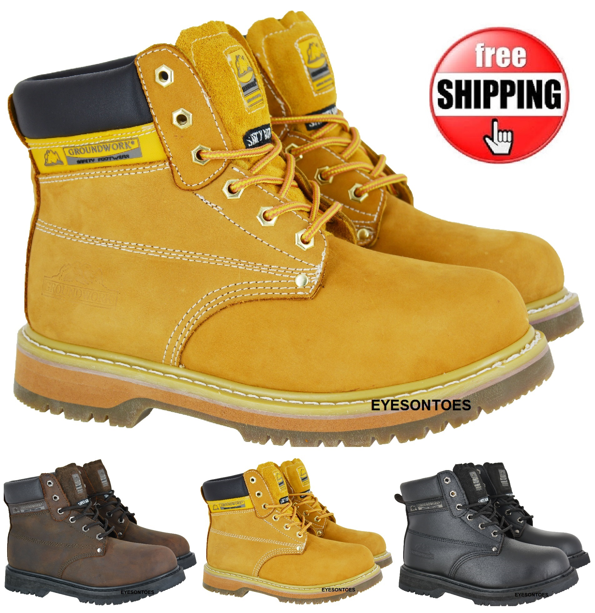 mens comfort work safety boots non slip sole leather steel
