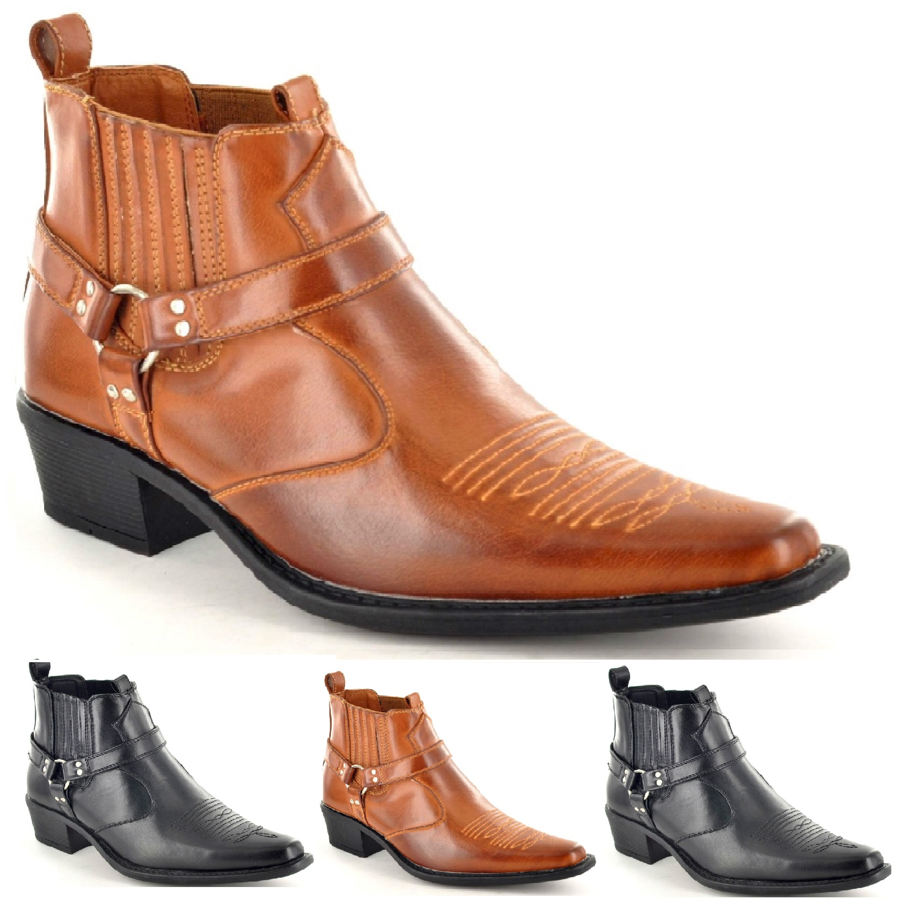mens western boots ankle biker cowboy pointed toe