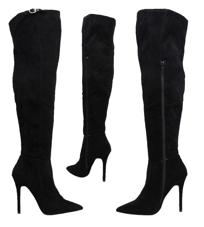 new black suede stiletto knee high heel wide