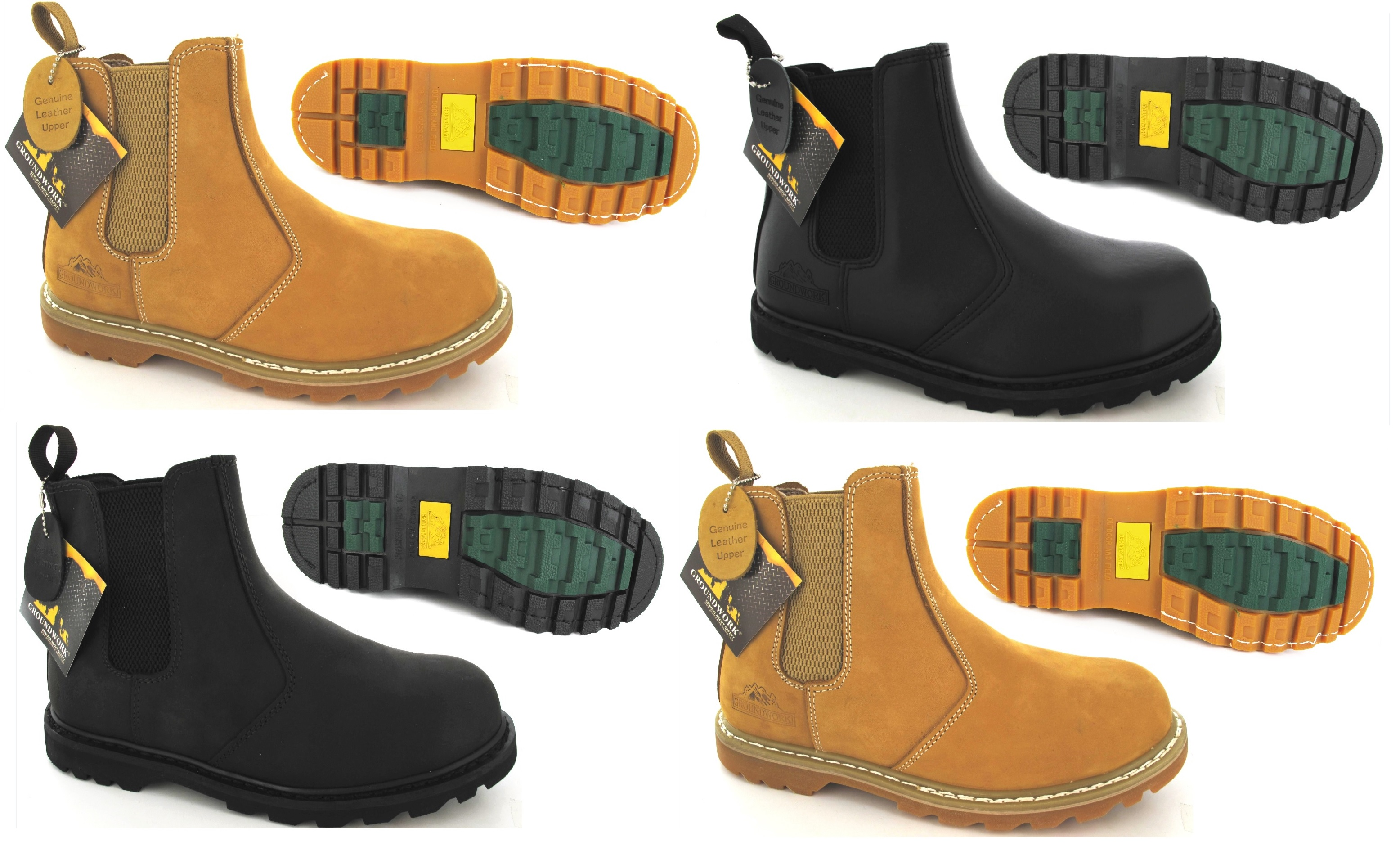 MENS GROUNDWORK DEALER CHELSEA SAFETY WORK BOOTS STEEL TOE CAP ...