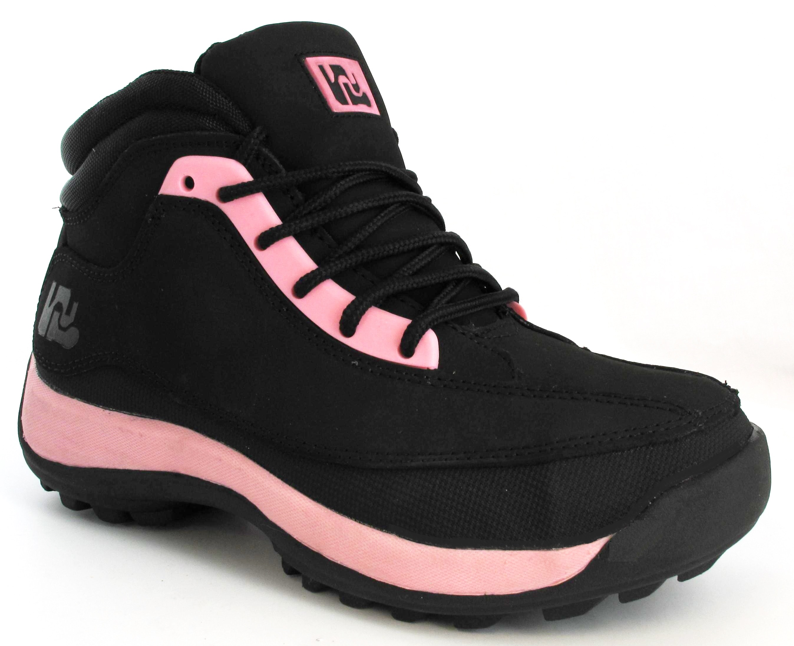 safety black pink steel toe cap leather ankle hiking