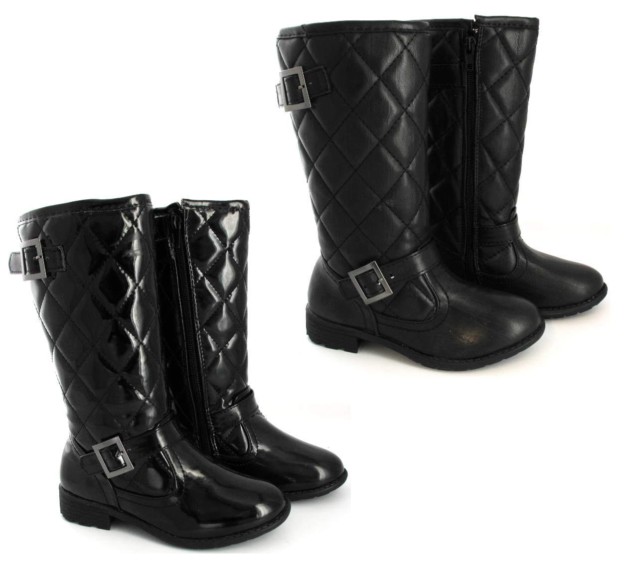 faux black leather quilted buckle childrens