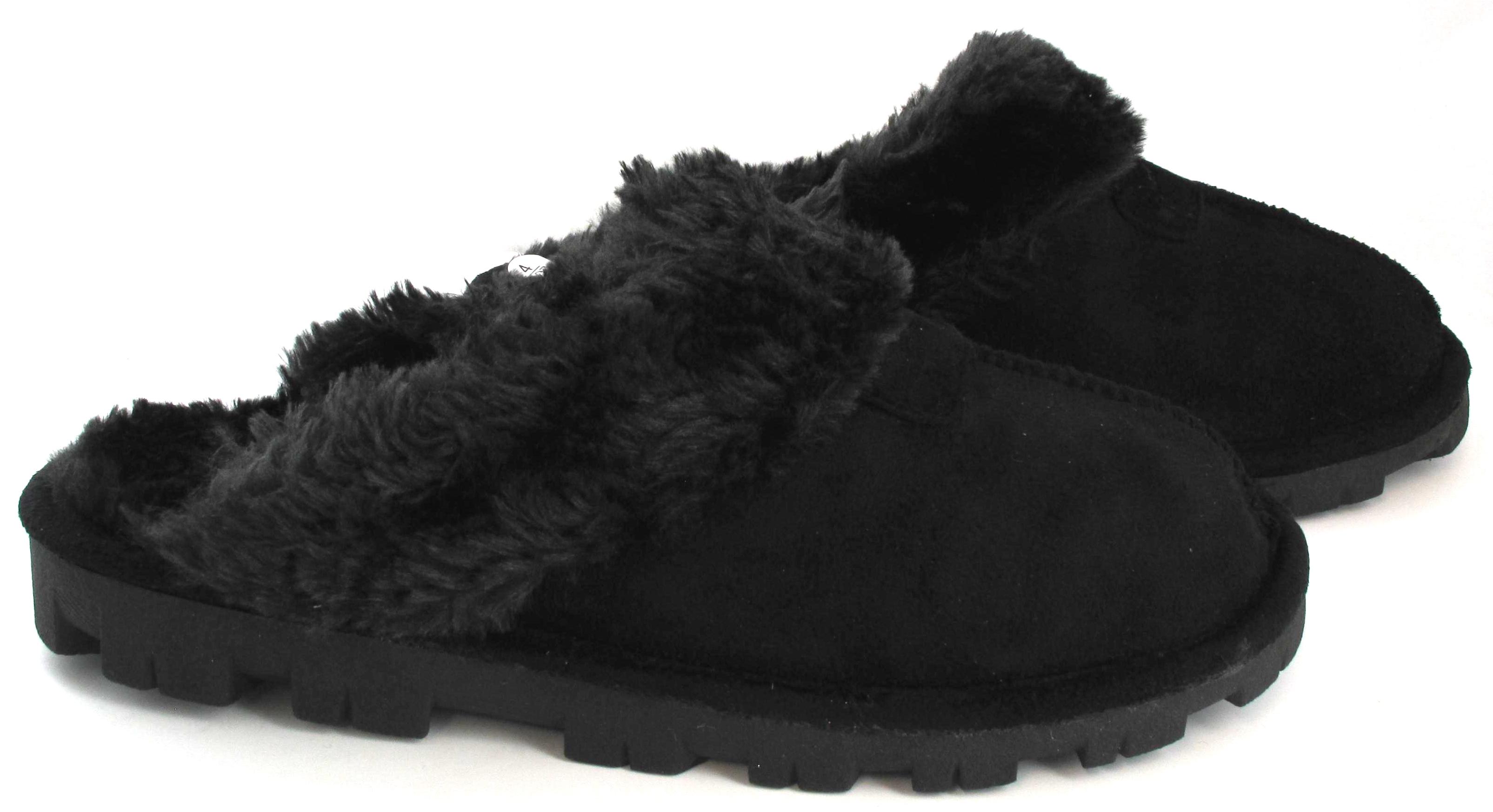 damen slipper warm pelz gef ttert winter bequem gummisohle hausschuhe 3 8 ebay. Black Bedroom Furniture Sets. Home Design Ideas