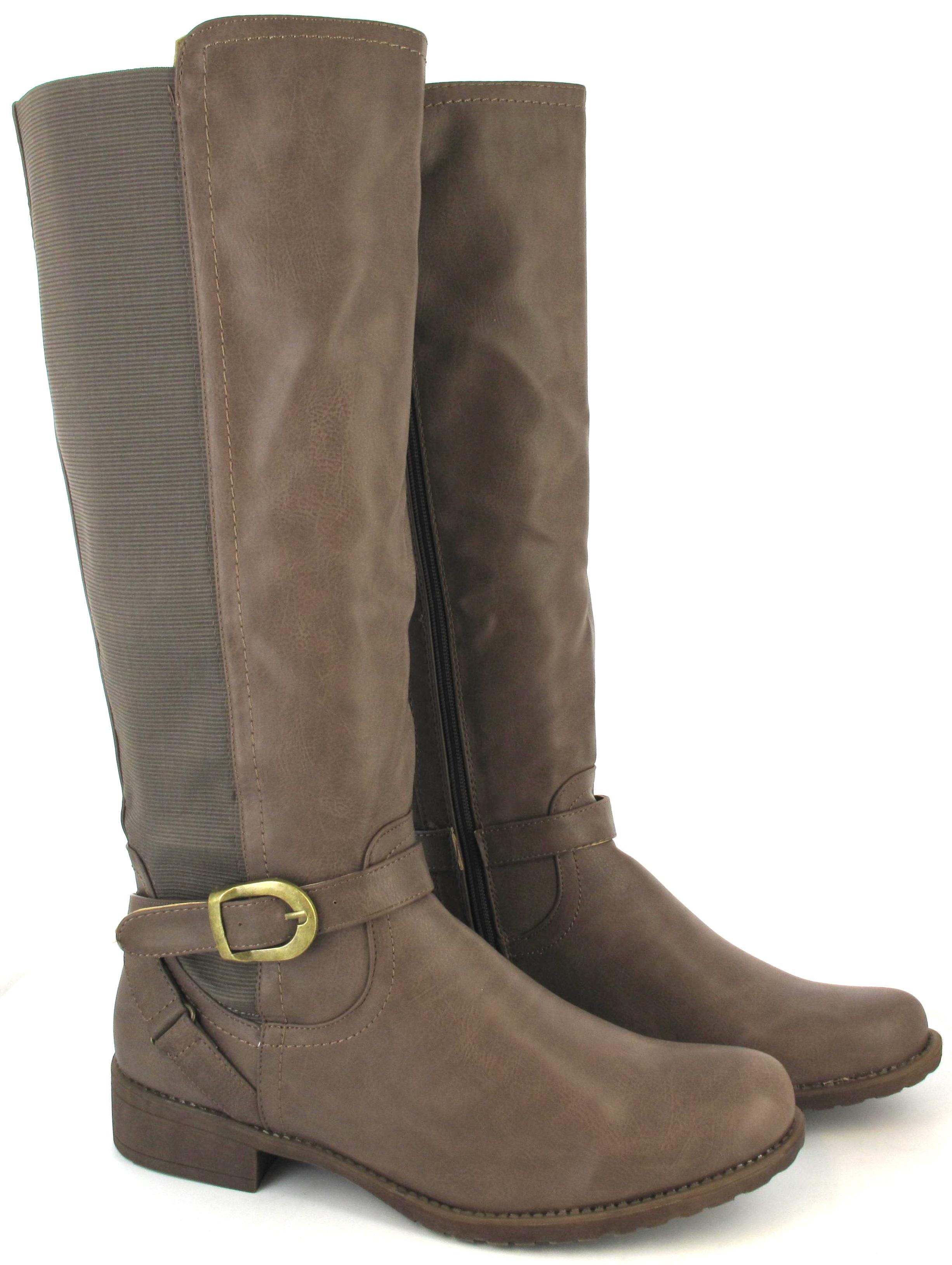 boots flat sole winter biker wide calf leg