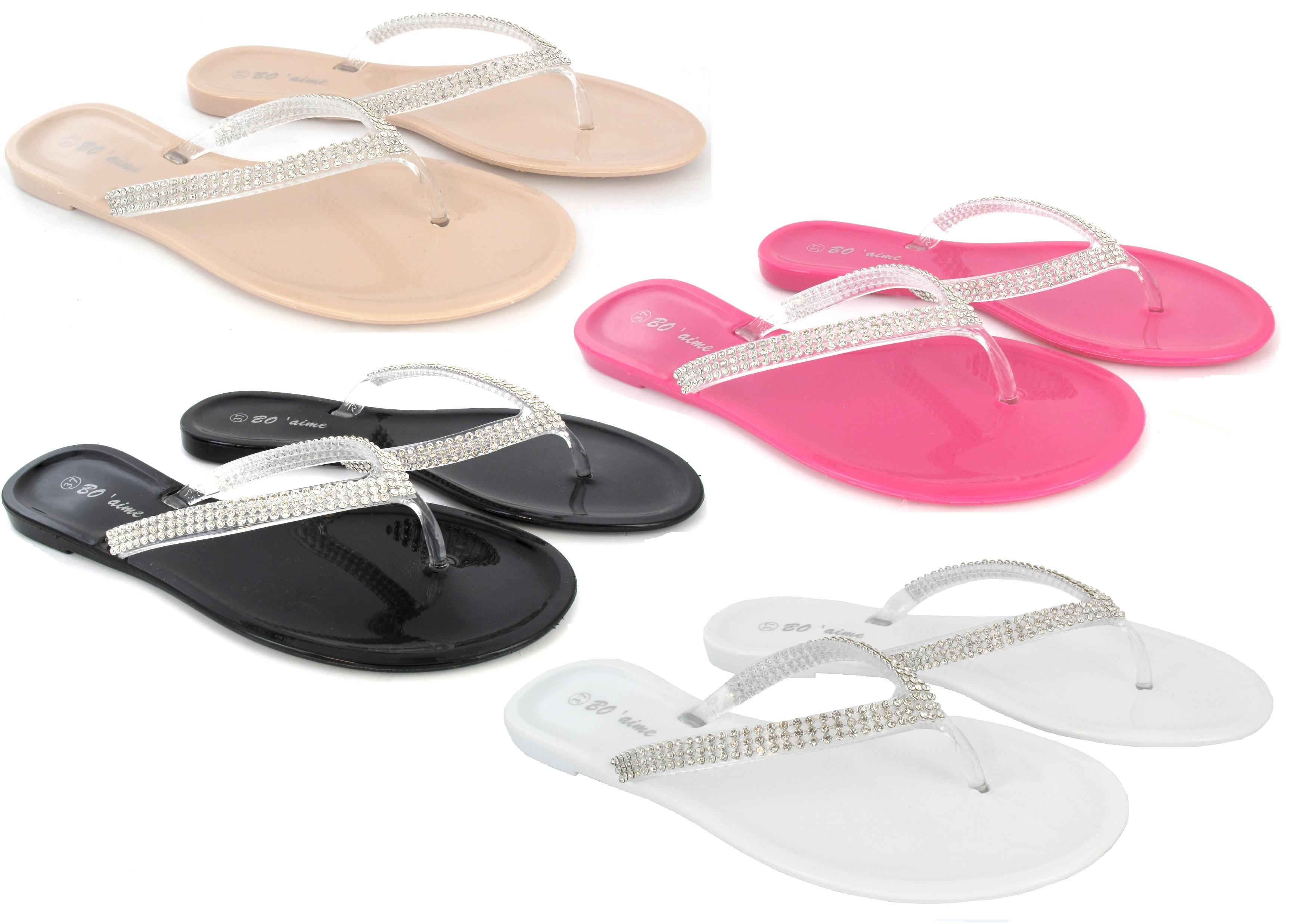 flip flops damen strass gel sommer flach strand sandalen ebay. Black Bedroom Furniture Sets. Home Design Ideas