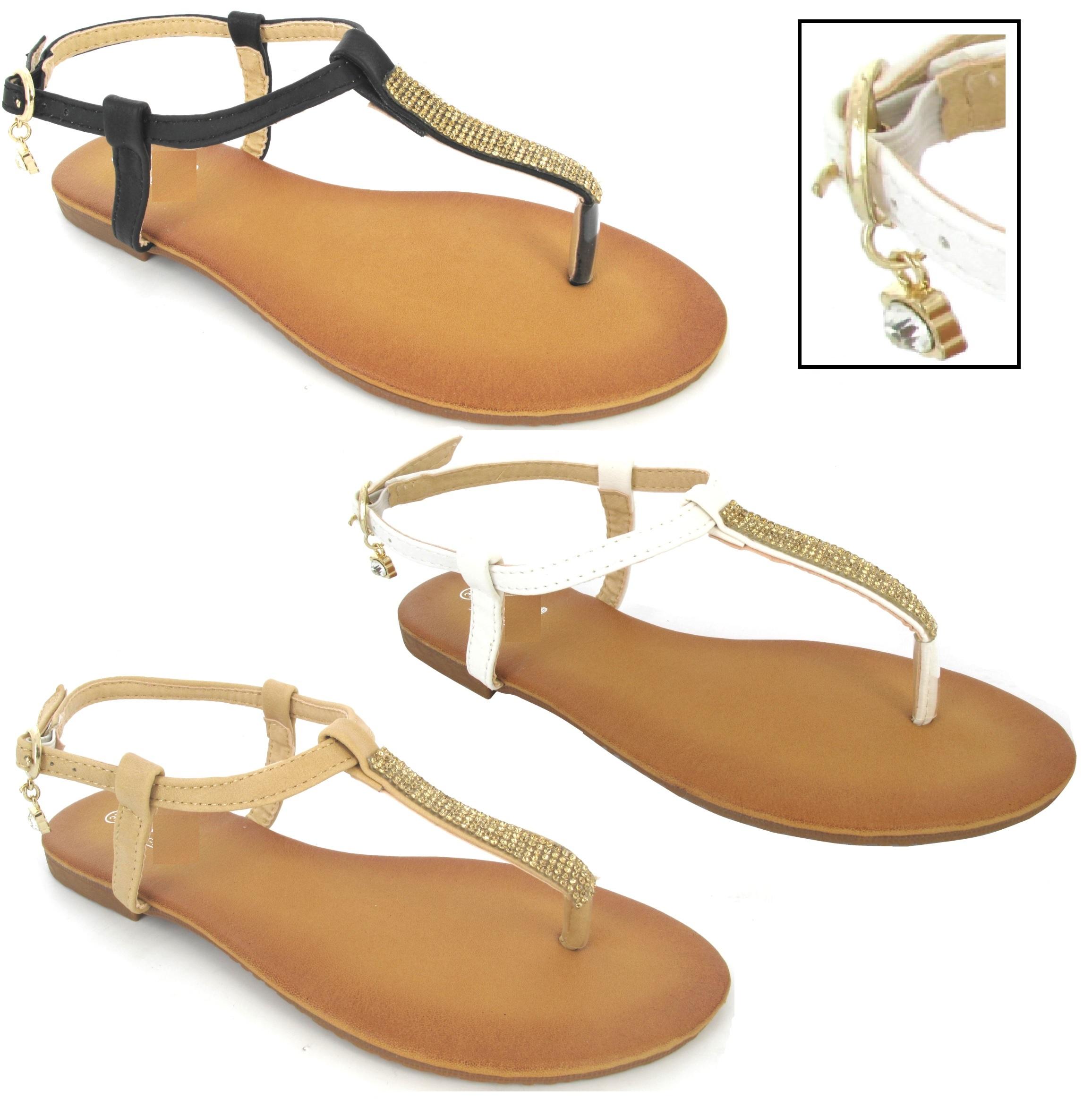 flip flops damen flach diamanten zehentrenner sommer sandalen ebay. Black Bedroom Furniture Sets. Home Design Ideas