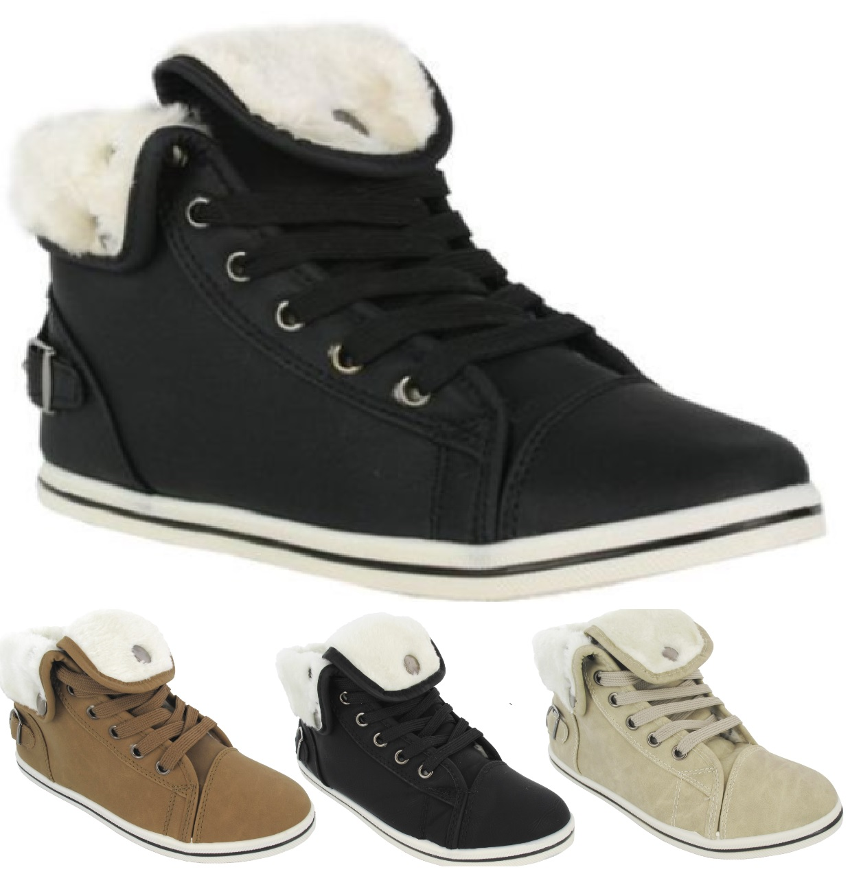 LADIES FAUX FUR HI TOP WOMENS WINTER WARM ANKLE BOOTS TRAINERS SHOES SIZE 3-9