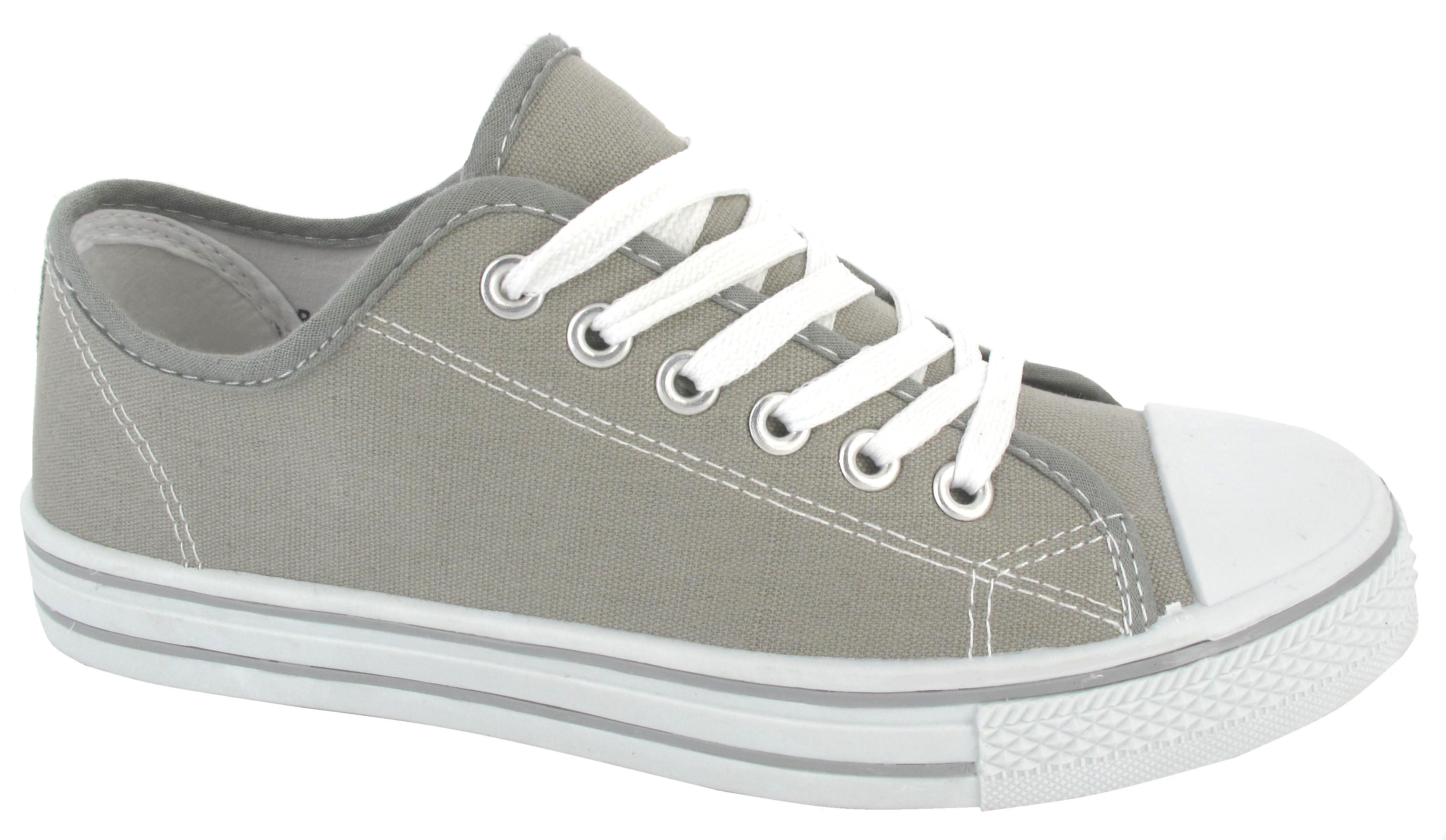 LADIES FLAT CASUAL CANVAS LACE UP WOMENS GIRLS PUMPS PLIMSOLES SNEAKERS TRAINER | EBay