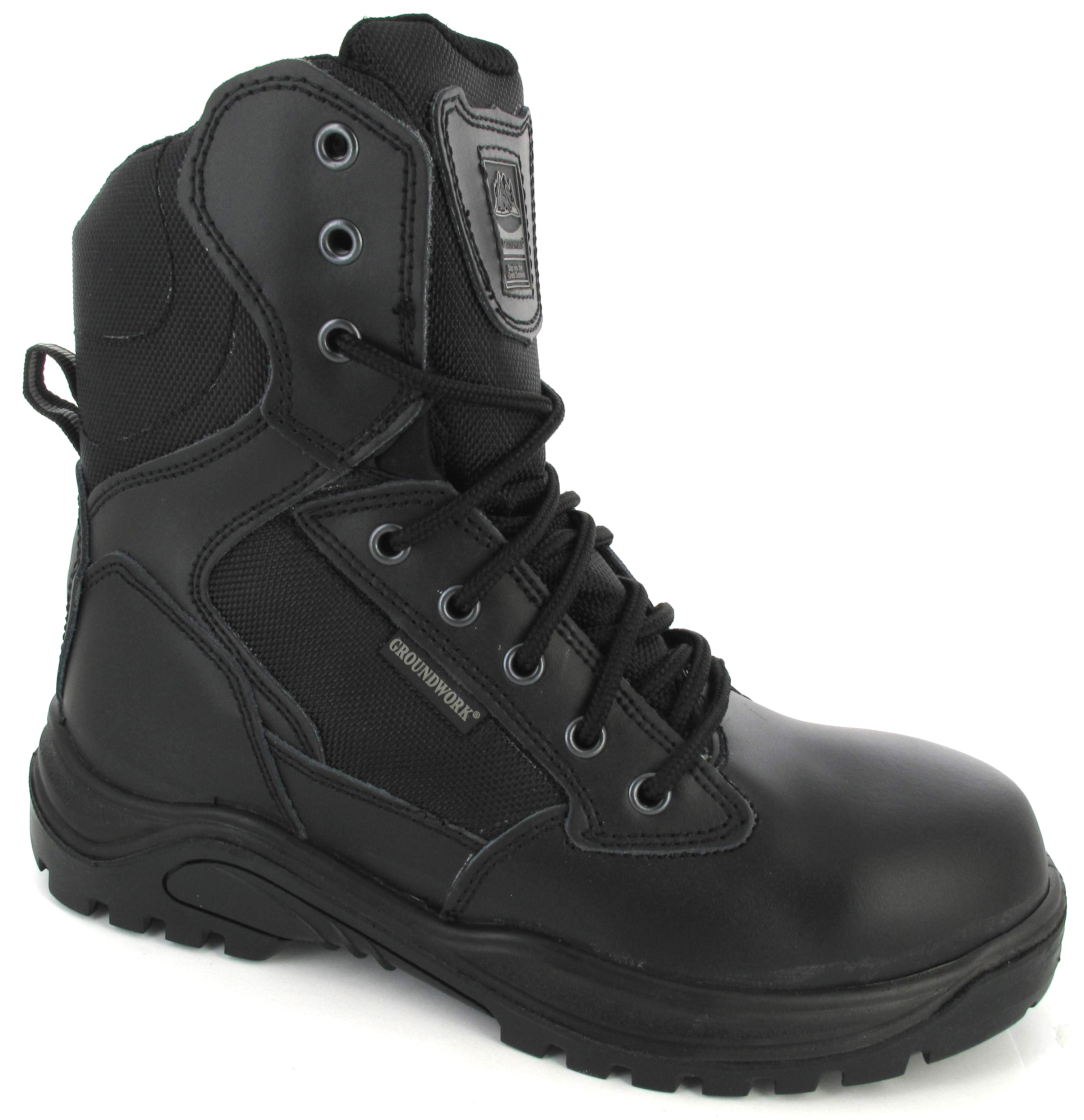 mens black army leather security combat