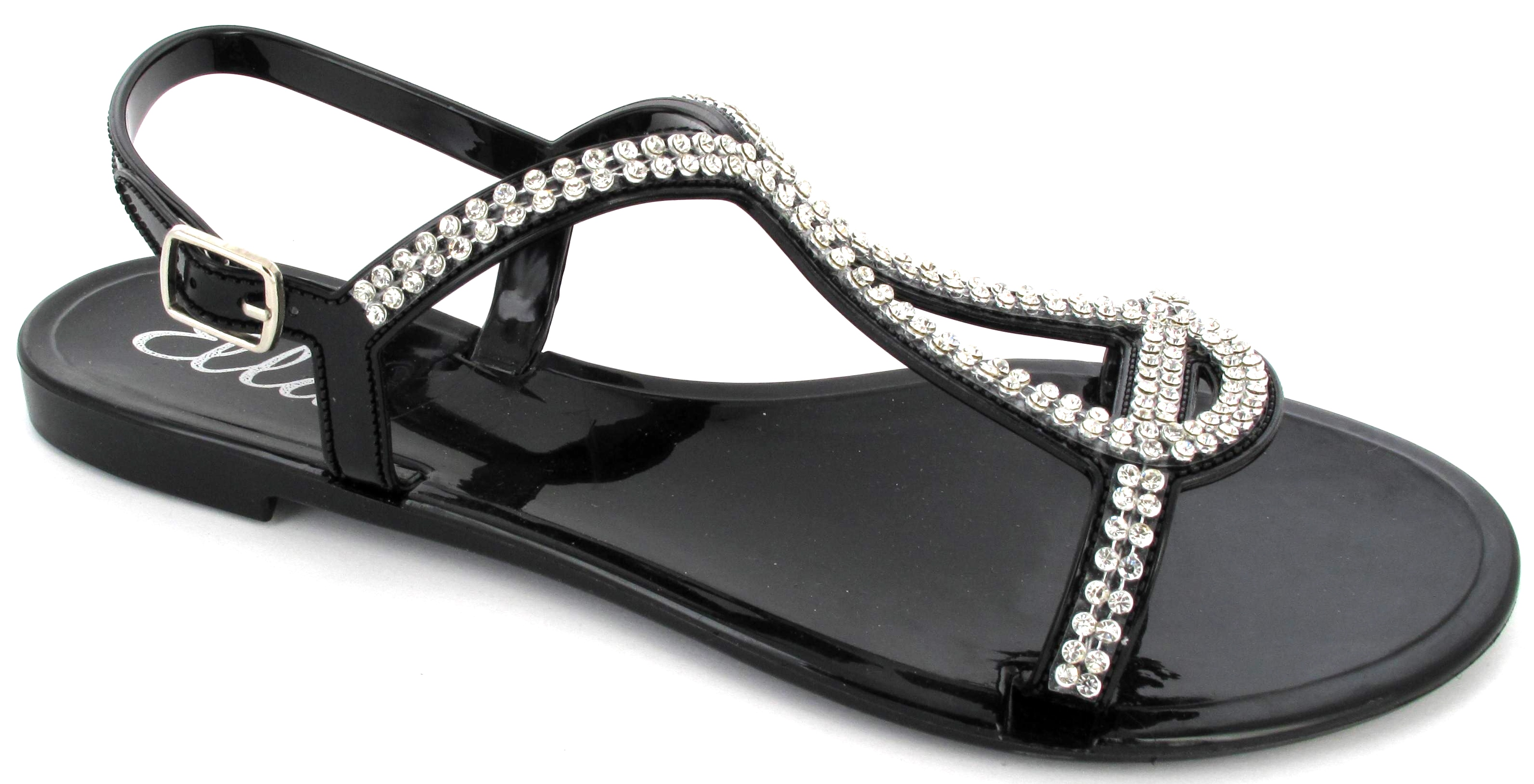 damen strass jelly sandalen zehentrenner strand sommer sandalen schuhe gr e ebay. Black Bedroom Furniture Sets. Home Design Ideas
