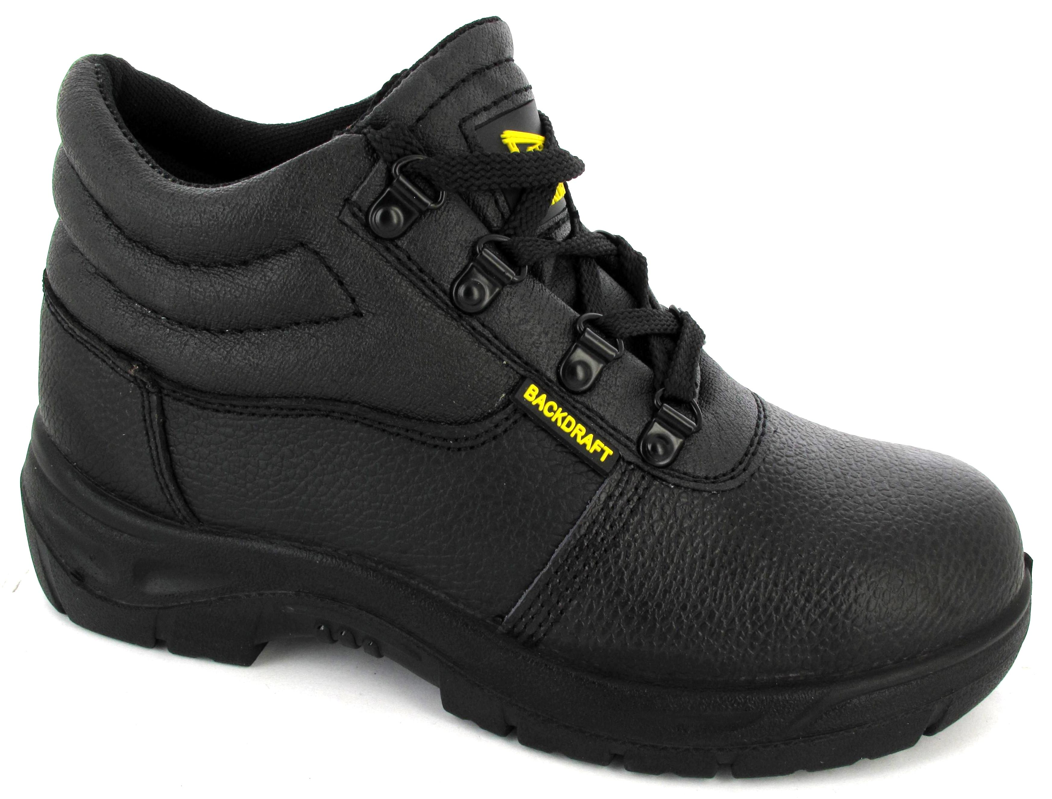 mens black steeltoe leather work trainers safety footwear. Black Bedroom Furniture Sets. Home Design Ideas