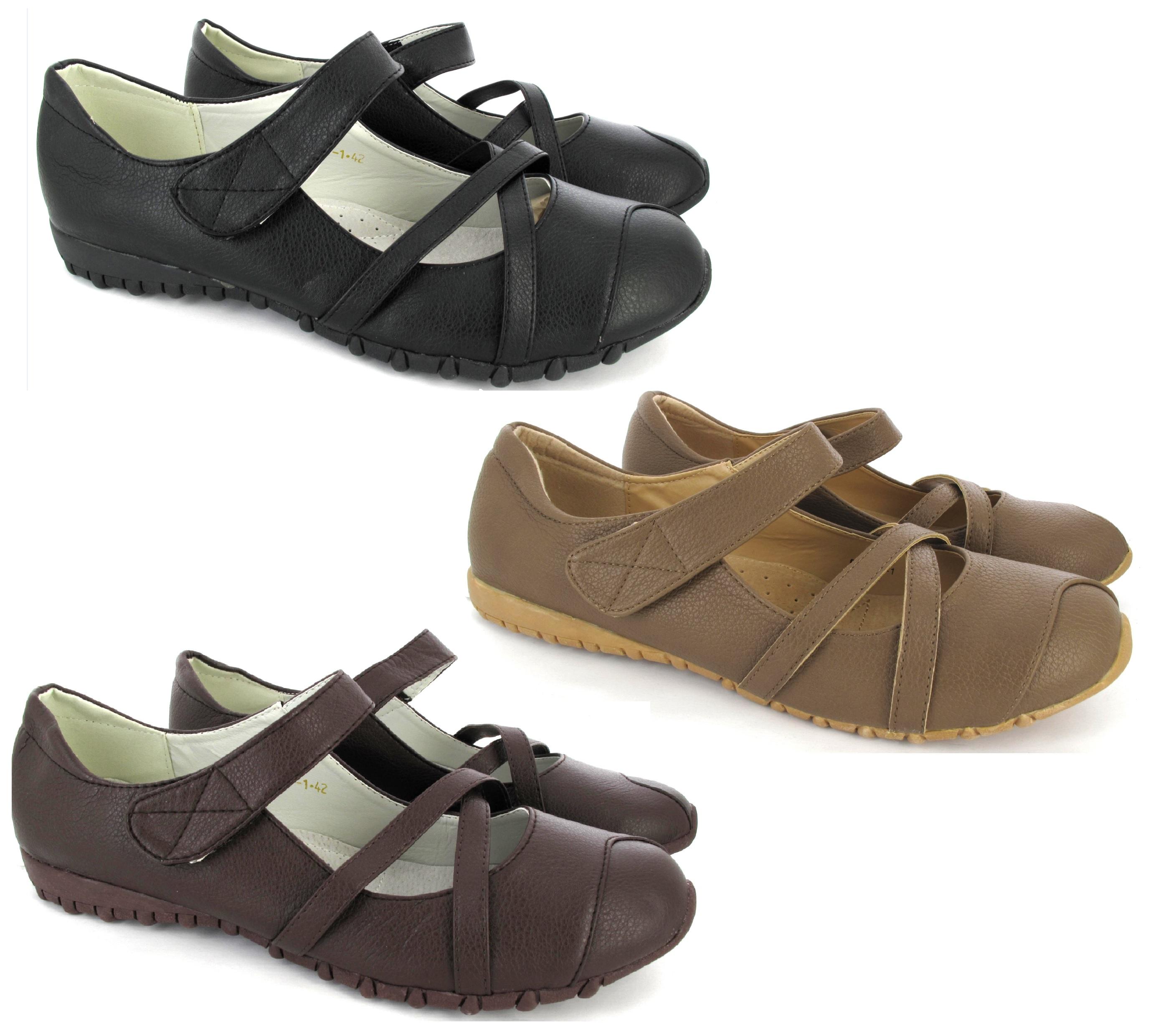 ladies flat comfort casual shoes black womens velcro