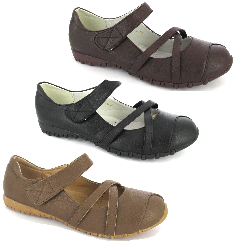 womens flat comfort casual shoes black ladies velcro
