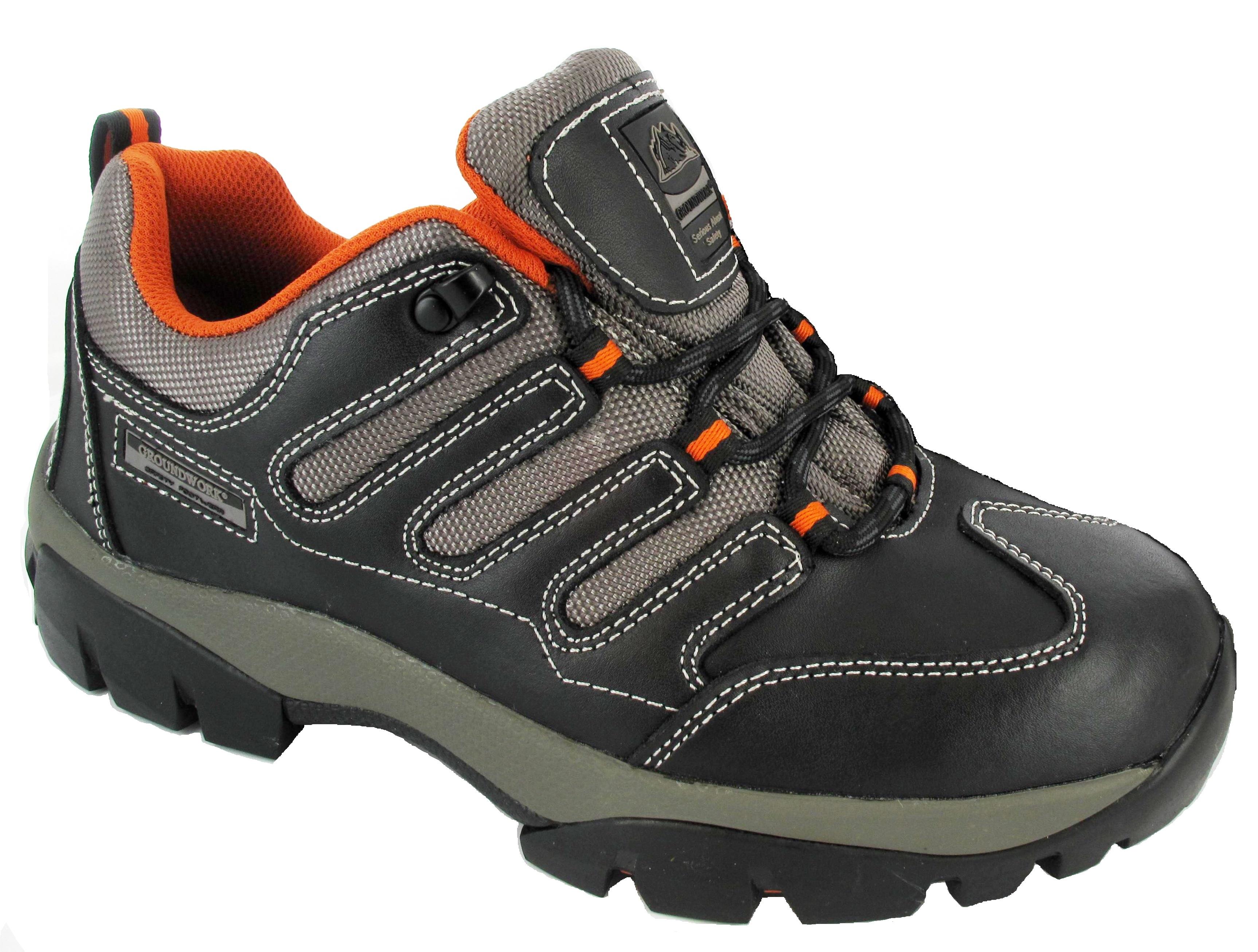 mens safety black orange safety trainers work hiking steel. Black Bedroom Furniture Sets. Home Design Ideas
