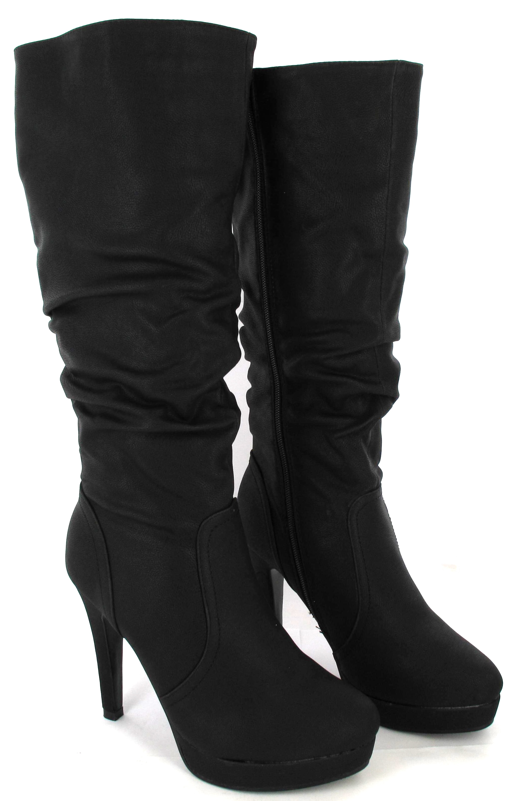 WOMANS MID HIGH HEEL STILETTO KNEE BOOTS LADIES FASHION MID CALF ...
