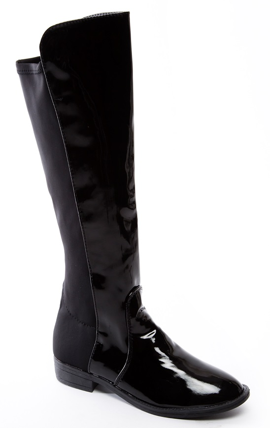 womens black patent flat casual knee high